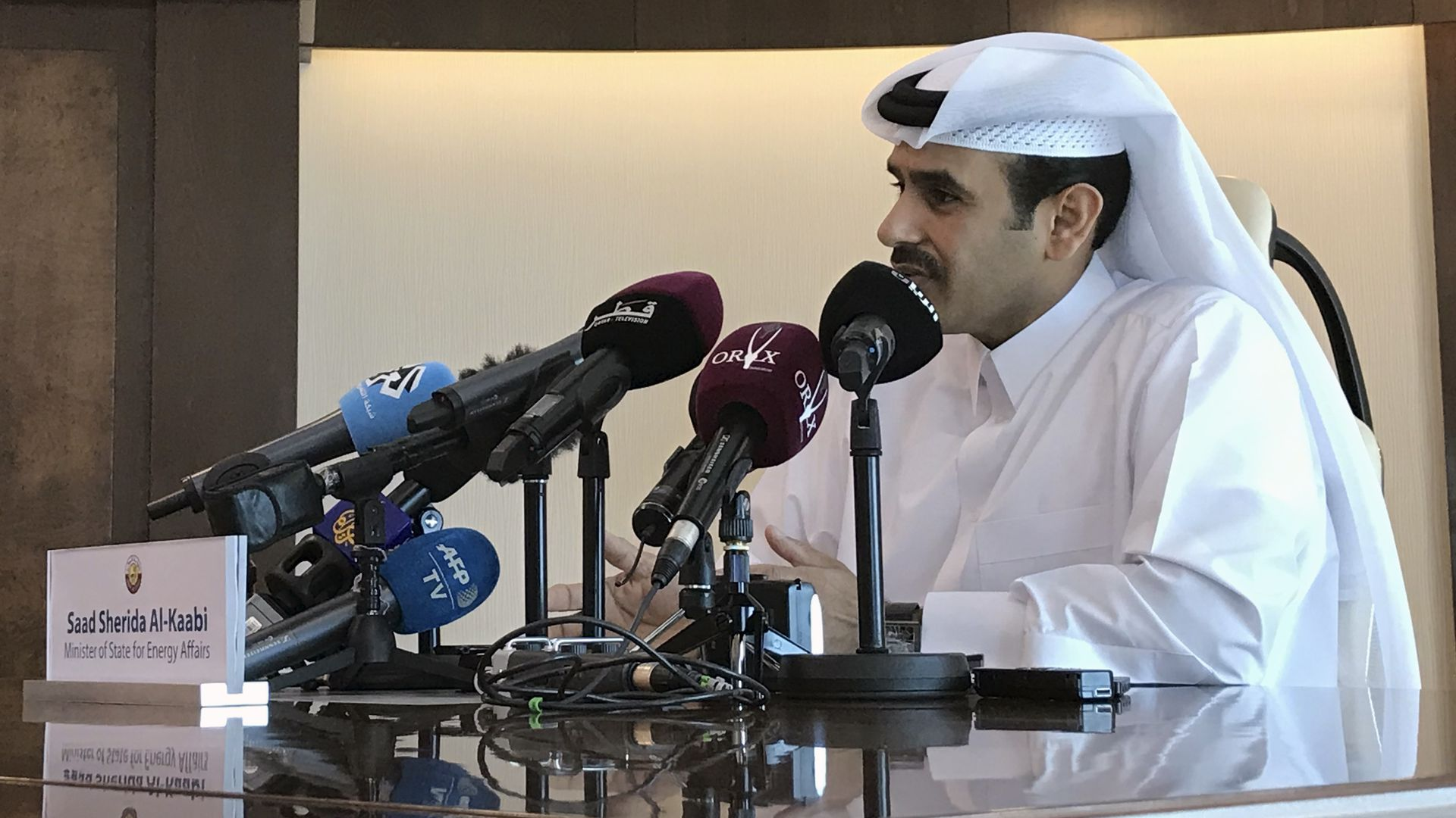 Saad Sherida Al-Kaabi, Qatari Minister of State for Energy Affairs, speaks during a press conference in the capital Doha on December 3, 2018.