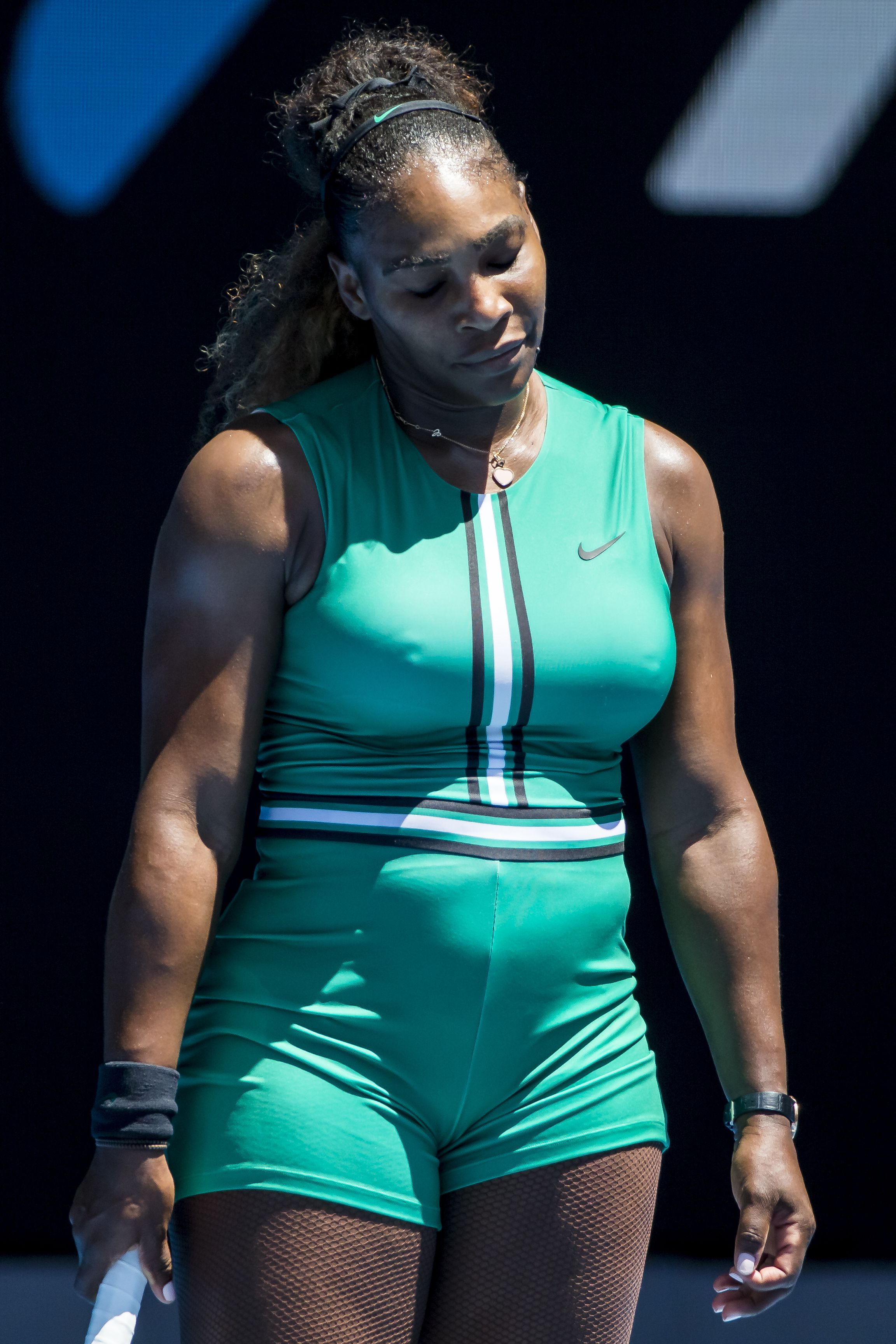 Serena Williams shows her frustration during her match