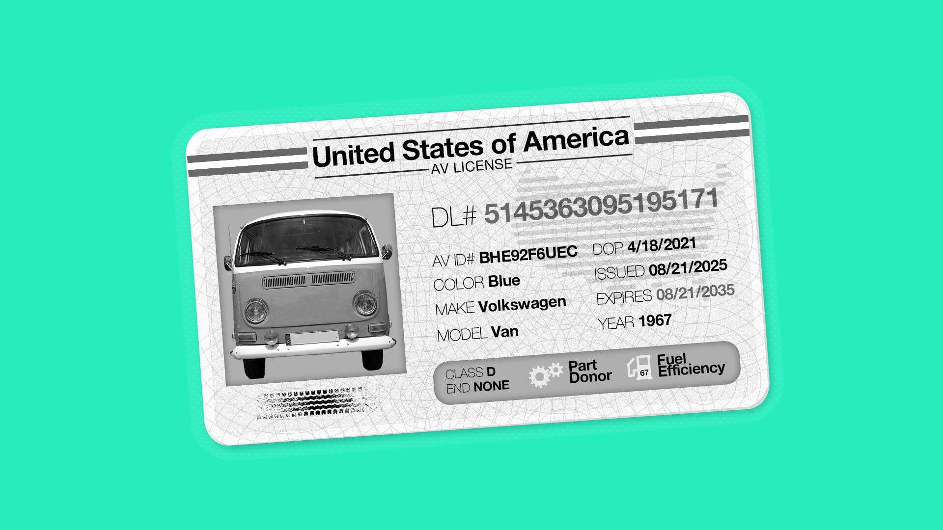 imagined mock-up of a driver's license for a self-driving car