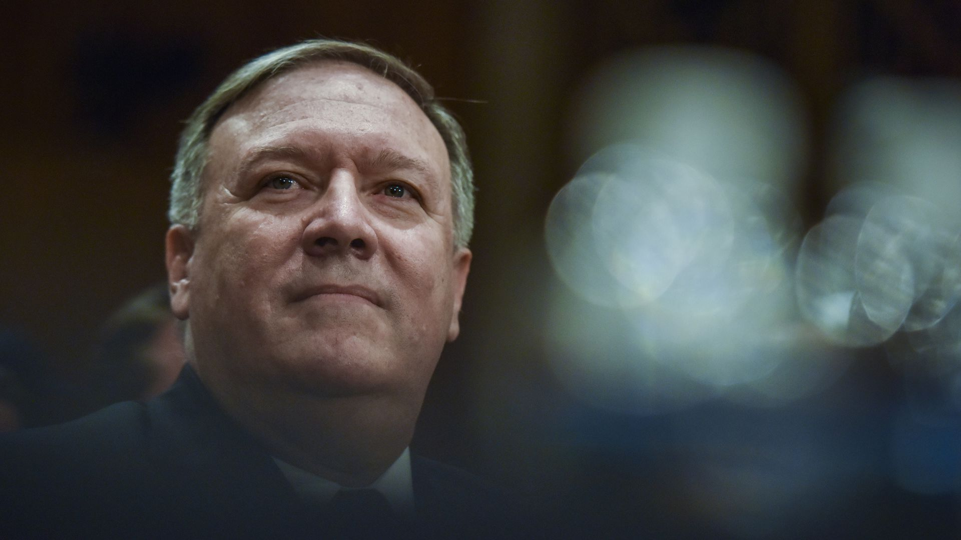Mike Pompeo looks up hopefully during confirmation hearing