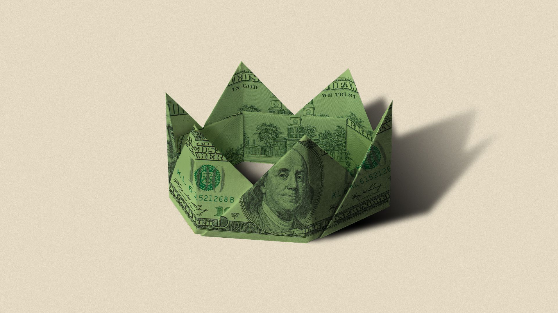 Illustration of a green crown made of folded dollar bills