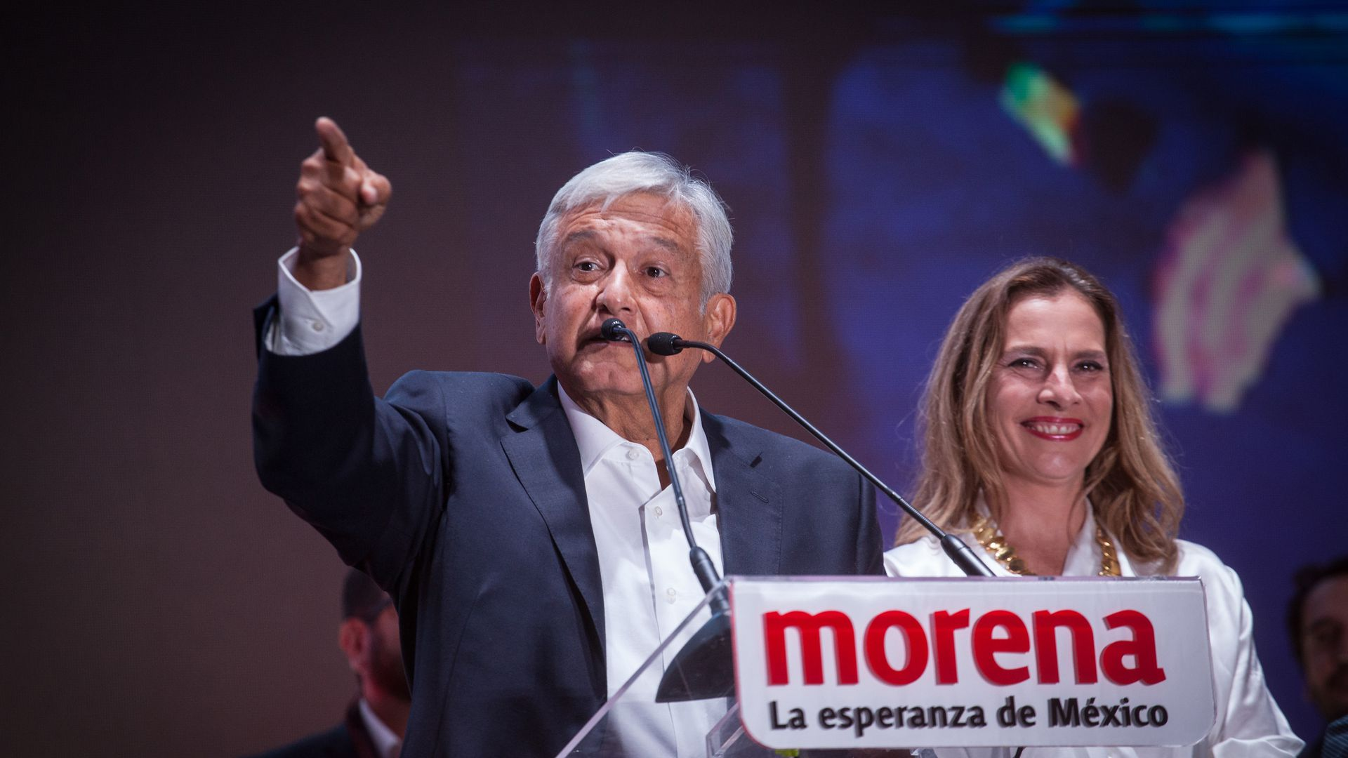 Mexican president Andres Miguel Lopez Obrador after being elected