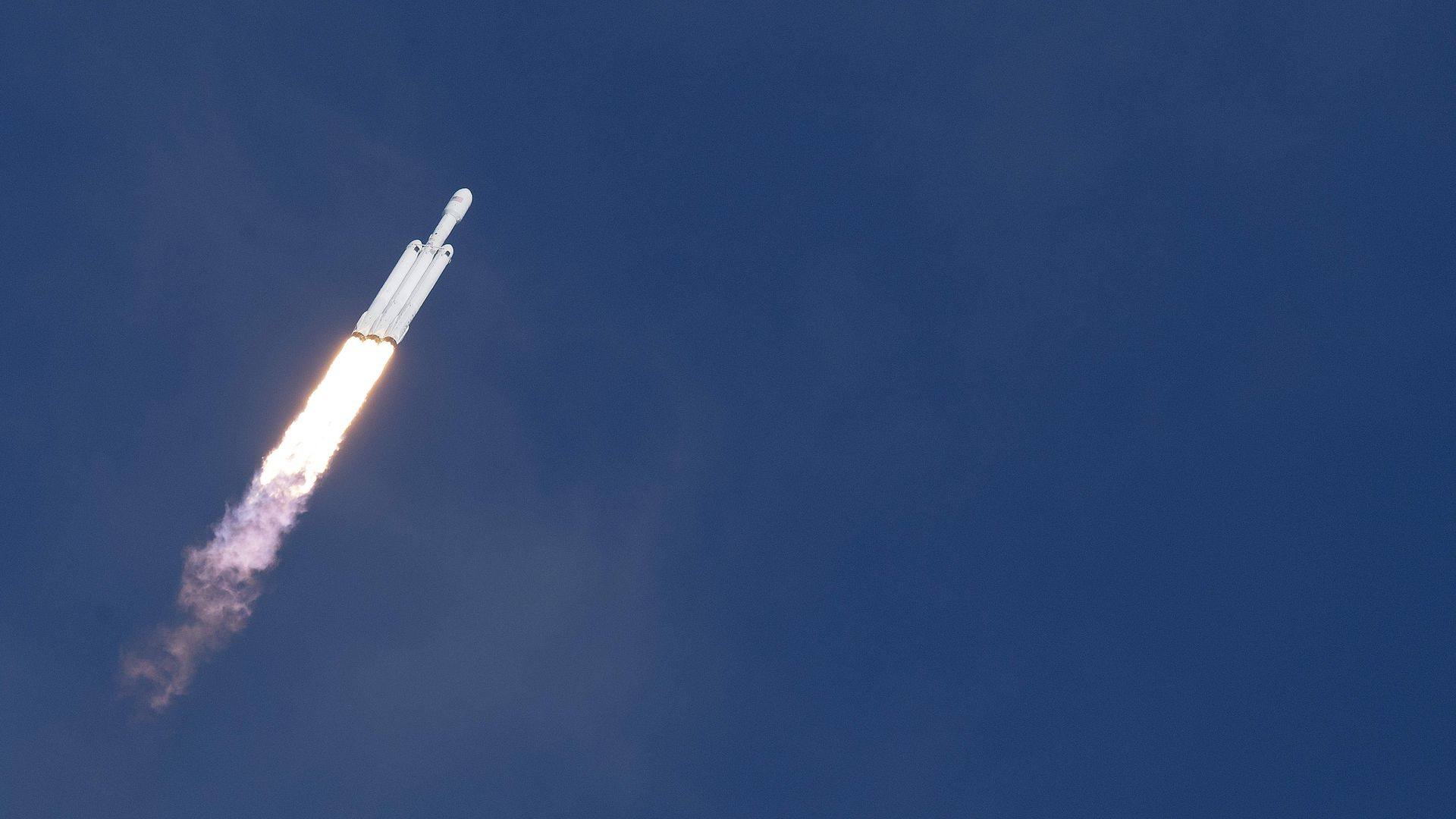 SpaceX's Falcon Heavy rocket launches from the Kennedy Space Center in Florida, on February 6, 2018.