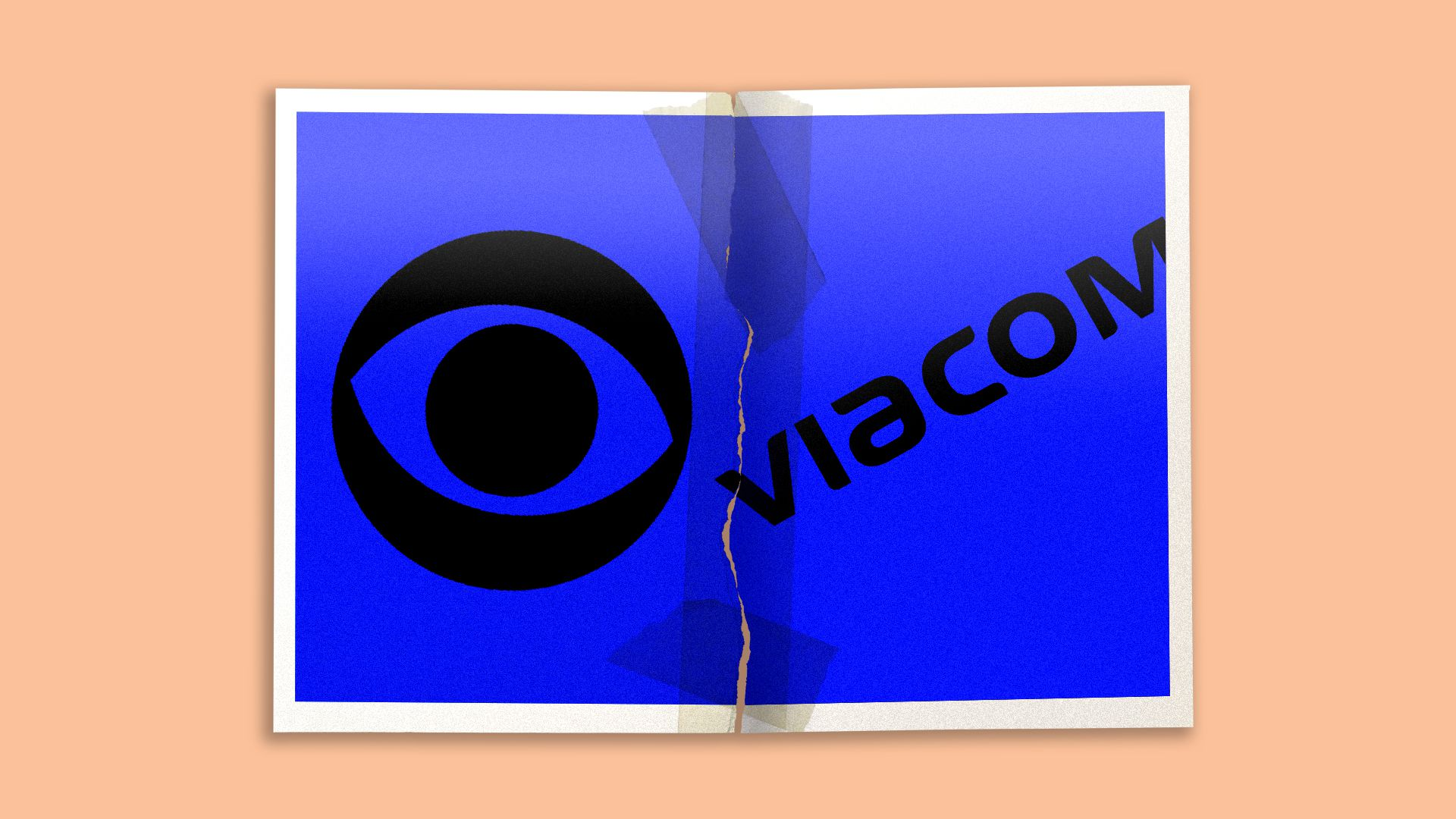 Illustration of a torn apart and taped back together photo of the CBS and Viacom logos.