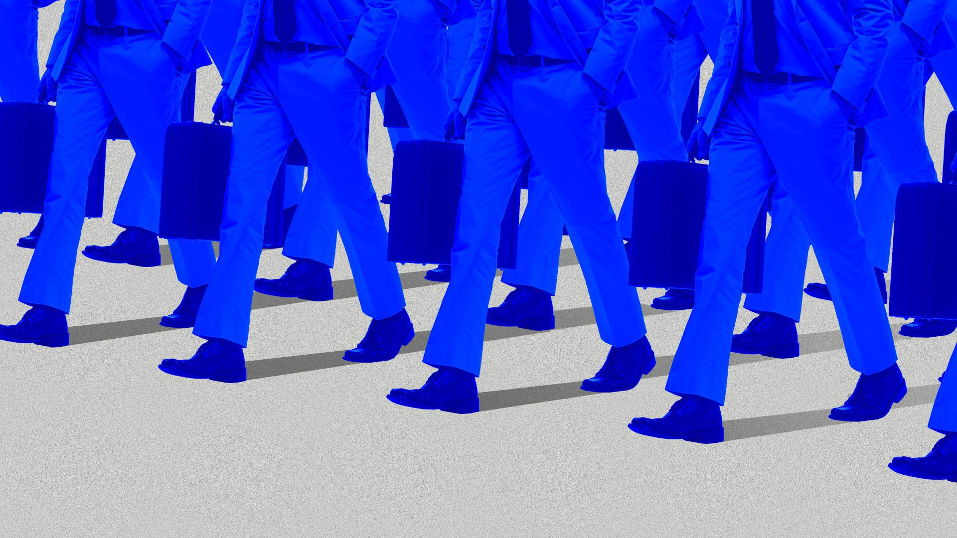 Illustration of ranks of legs and briefcases in blue