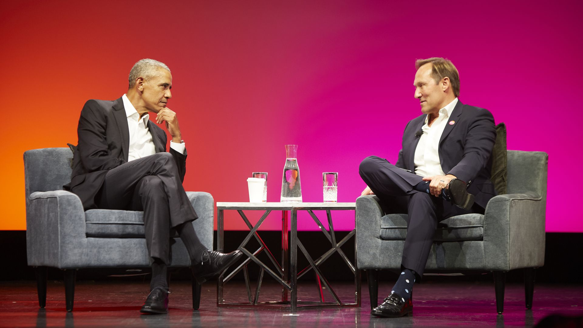 President Obama speaks with Splunk CEO Douglas Merritt on Wednesday.