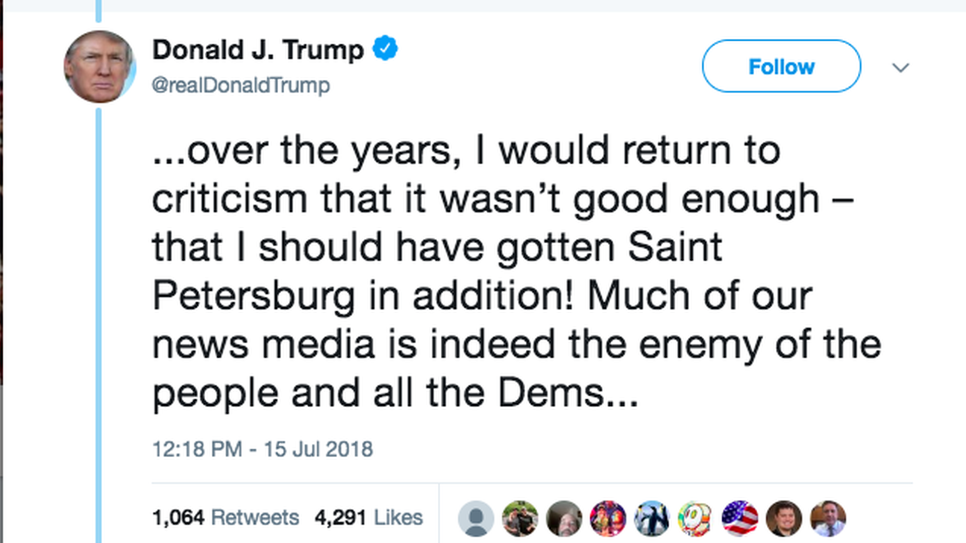 Trump Calls Media Quot Enemy Of The People Quot While Flying To