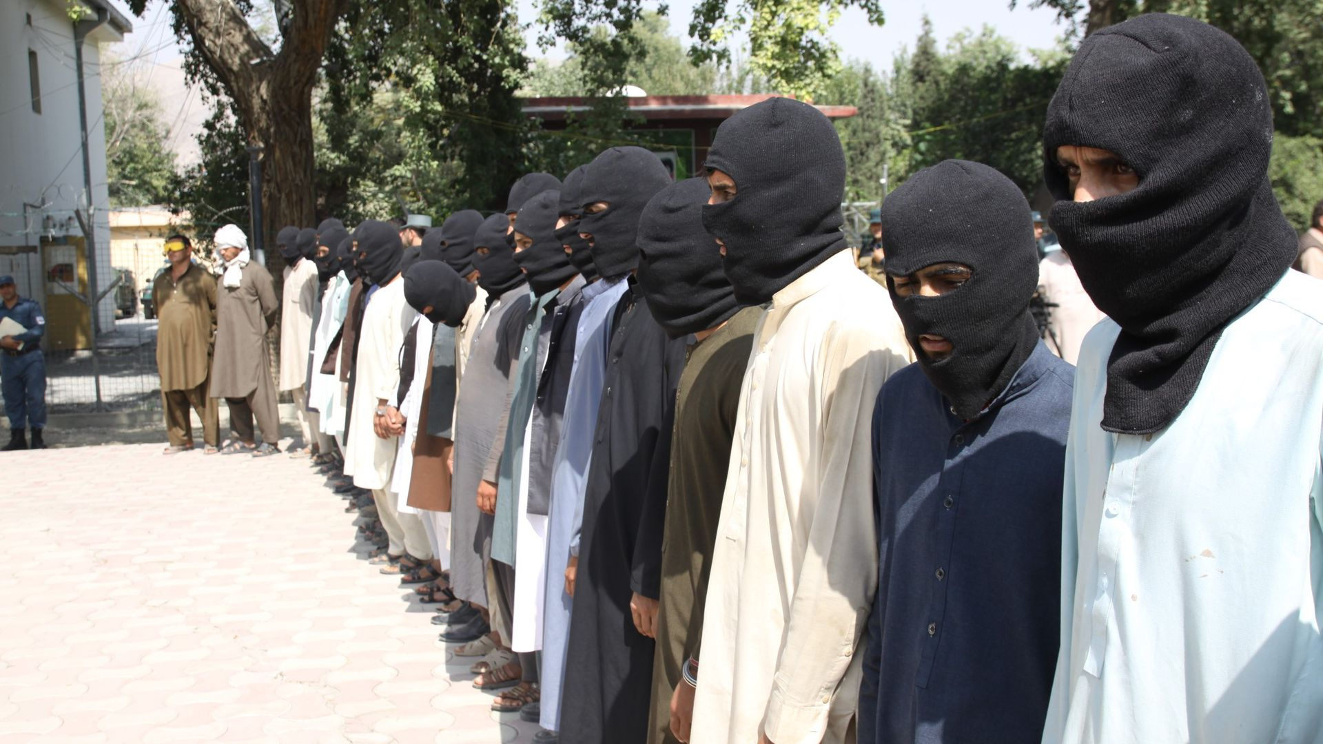 10 members of Daesh and 5 members of Taliban are seen unarmed as they captured by Afghan authorities.