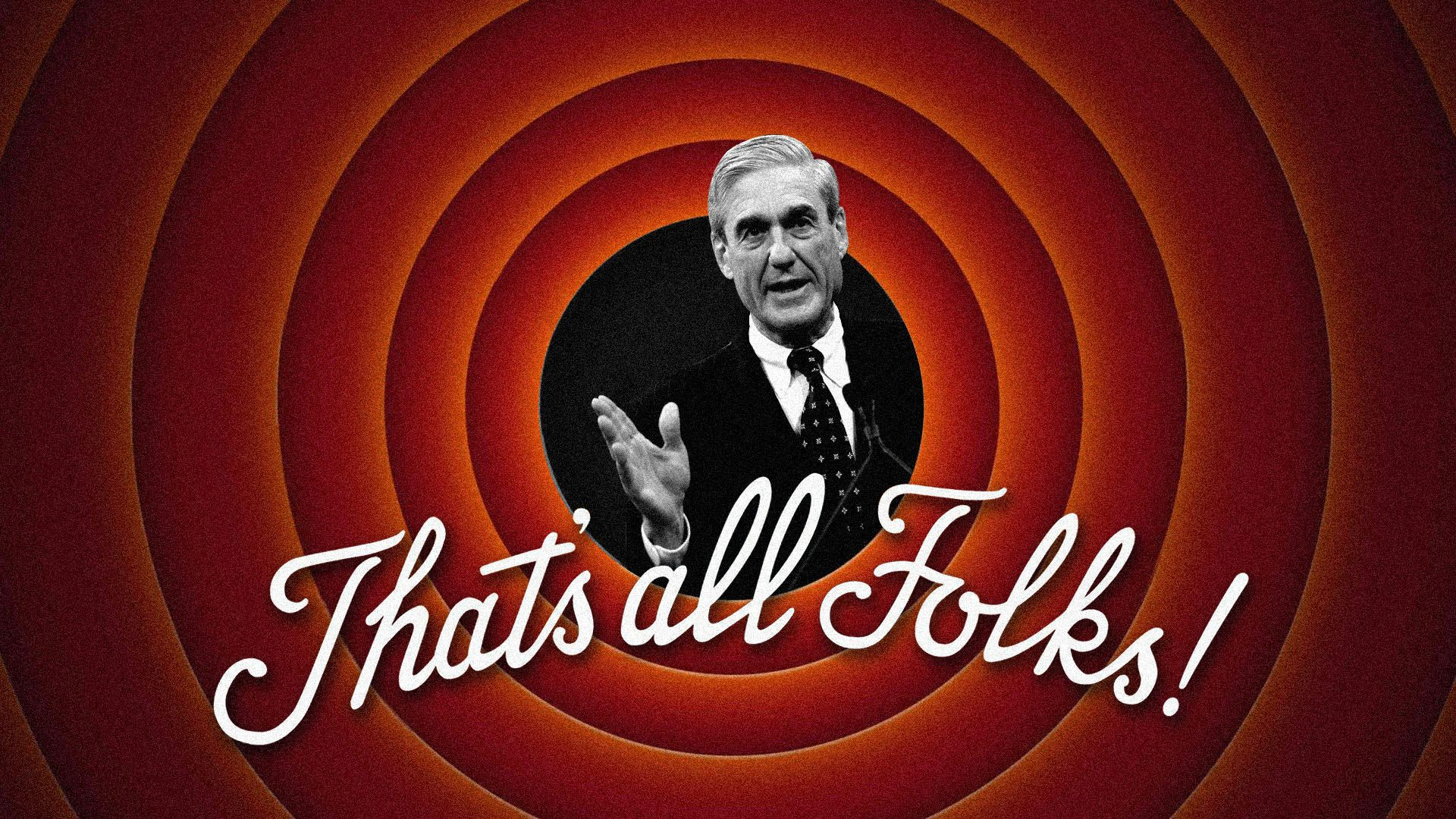 "Axios illustration of Robert Mueller inside a Looney Toons spiral with ""That's all Folks!"" written in script"