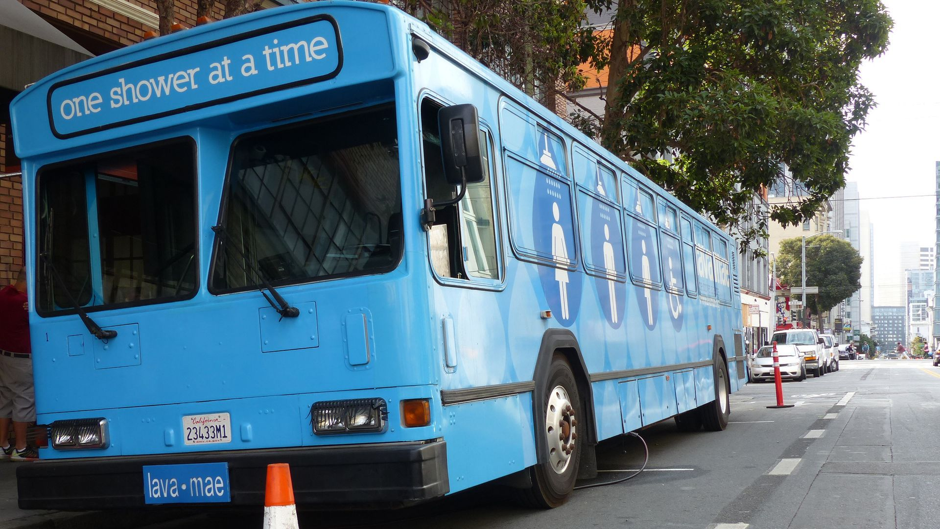 A decommissioned bus in San Francisco that was transformed into a mobile shower unit for homeless people.