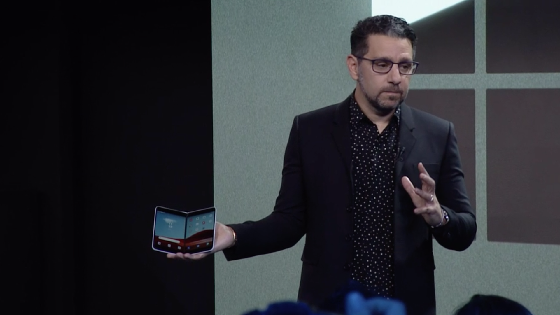 Surface head Panos Panay previews the Surface Neo, a PC-phone hybrid due out next year.