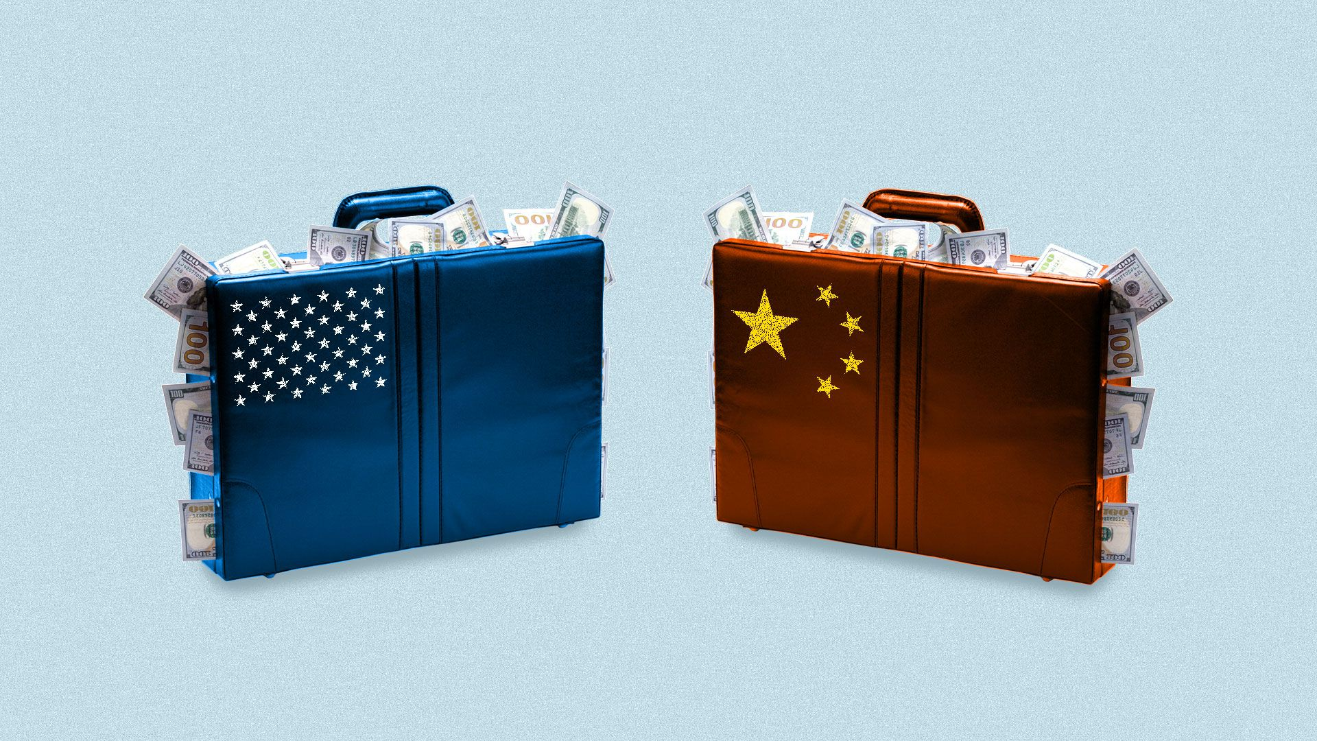 Two suitcases stuffed with cash, with the U.S. and Chinese flags on them
