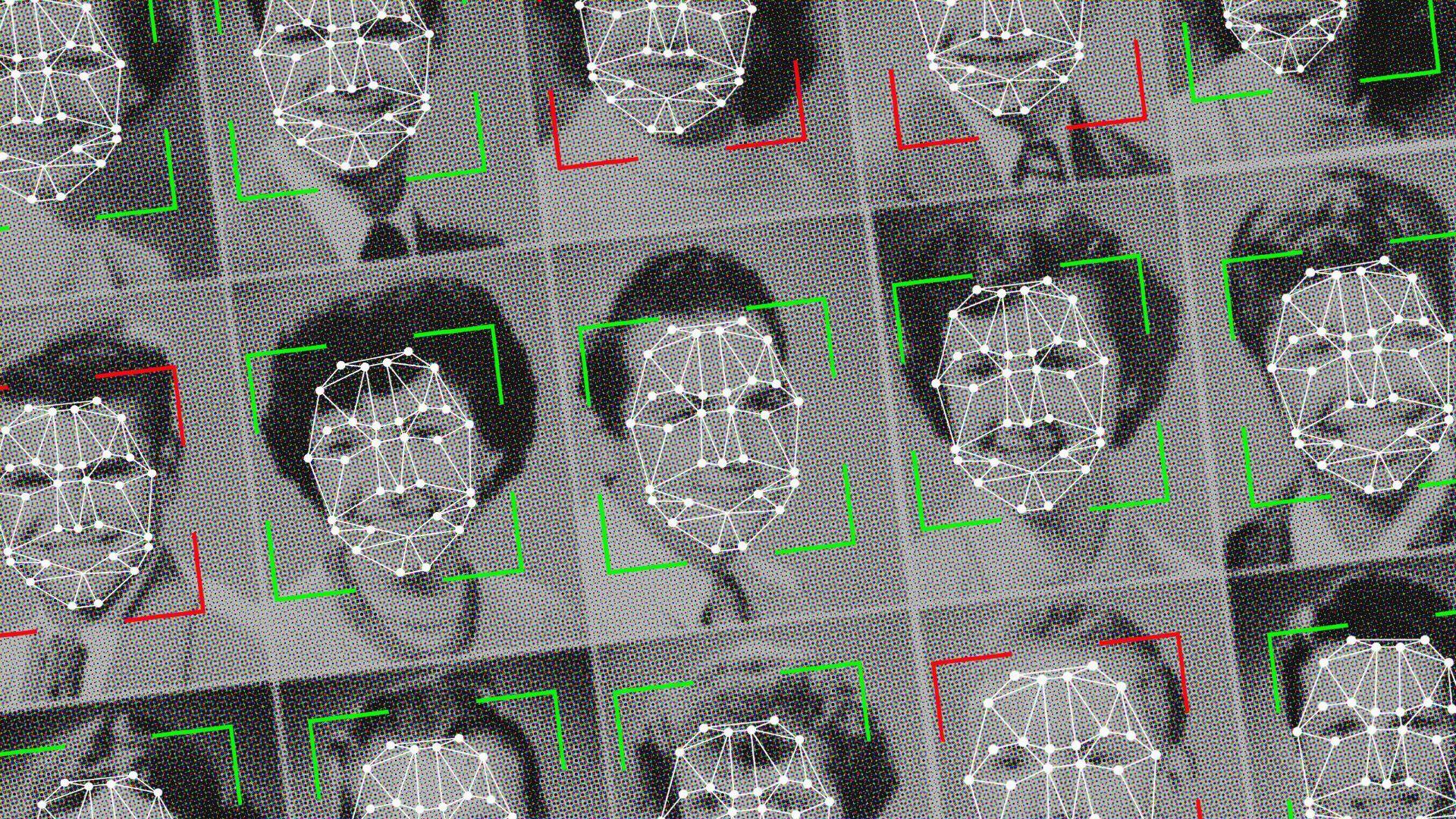 Facial recognition illustration