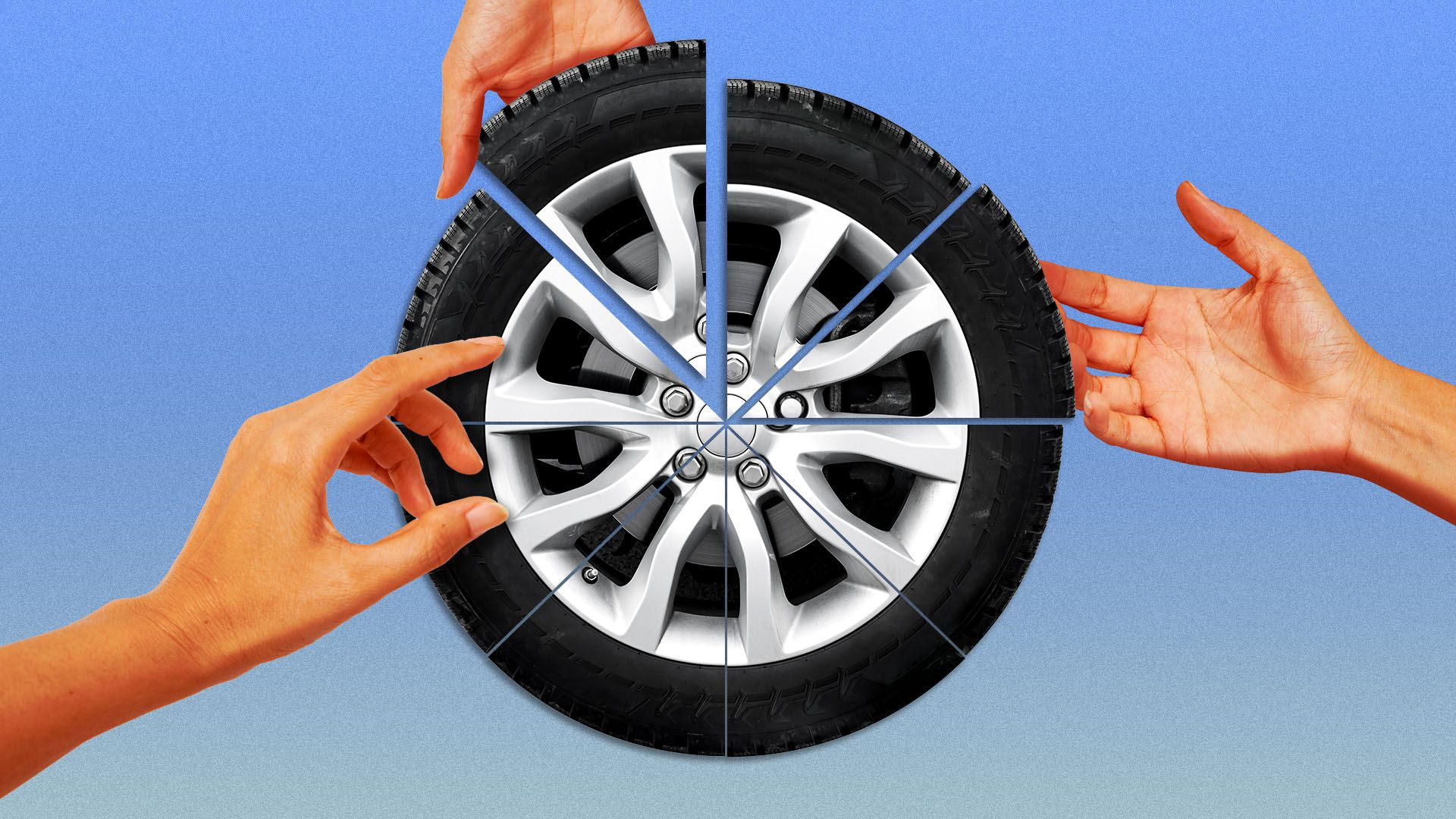 Illustration of a tire split like a pie, with hands reaching to grab the slices