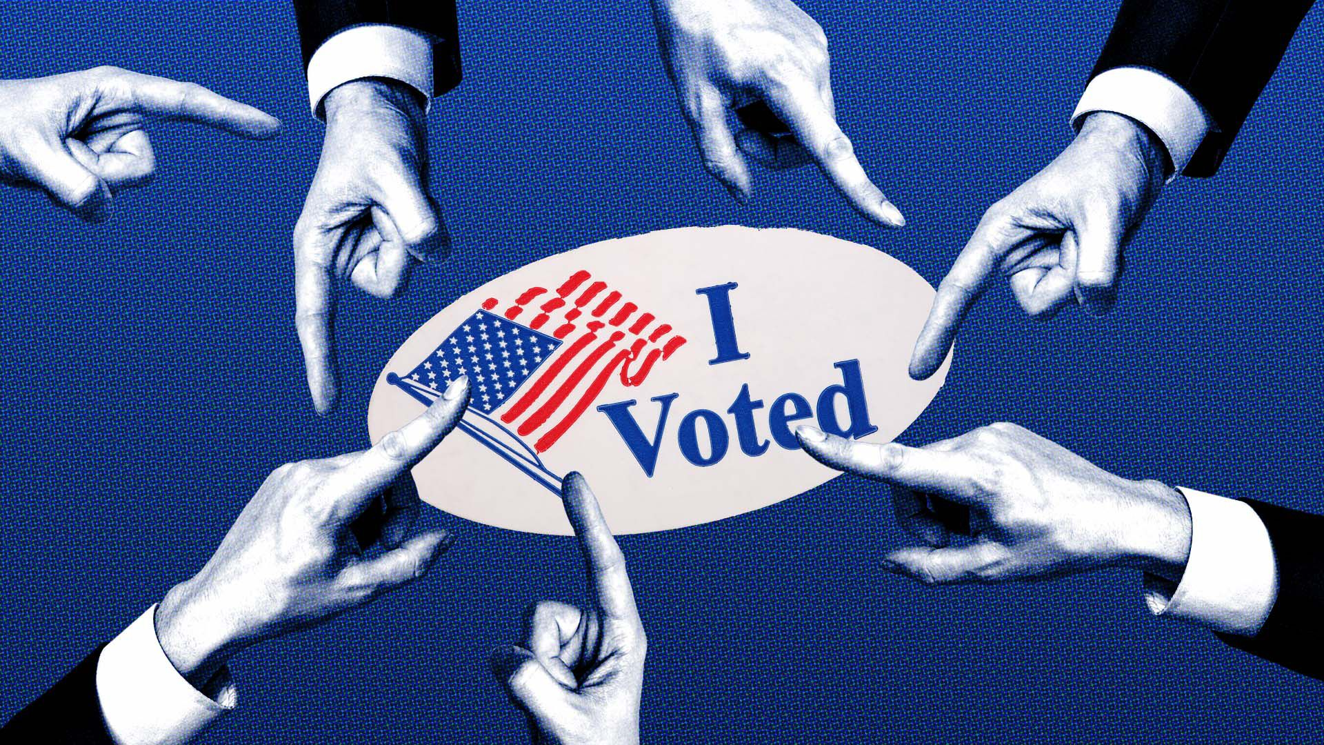 Illustration of an I voted sticker surrounded by fingers pointing in different directions