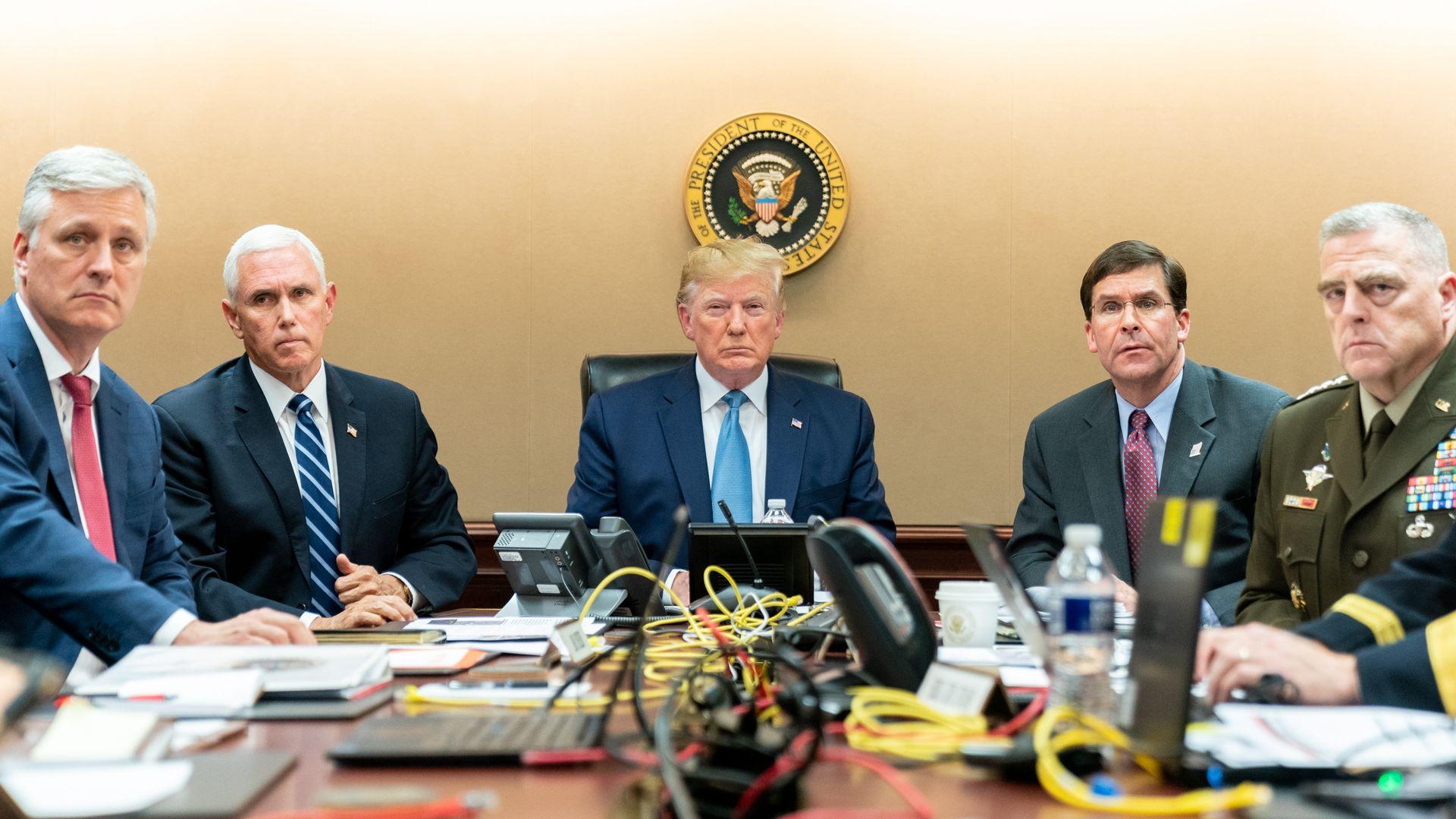 Trump with White House officials monitoring Baghdadi raid