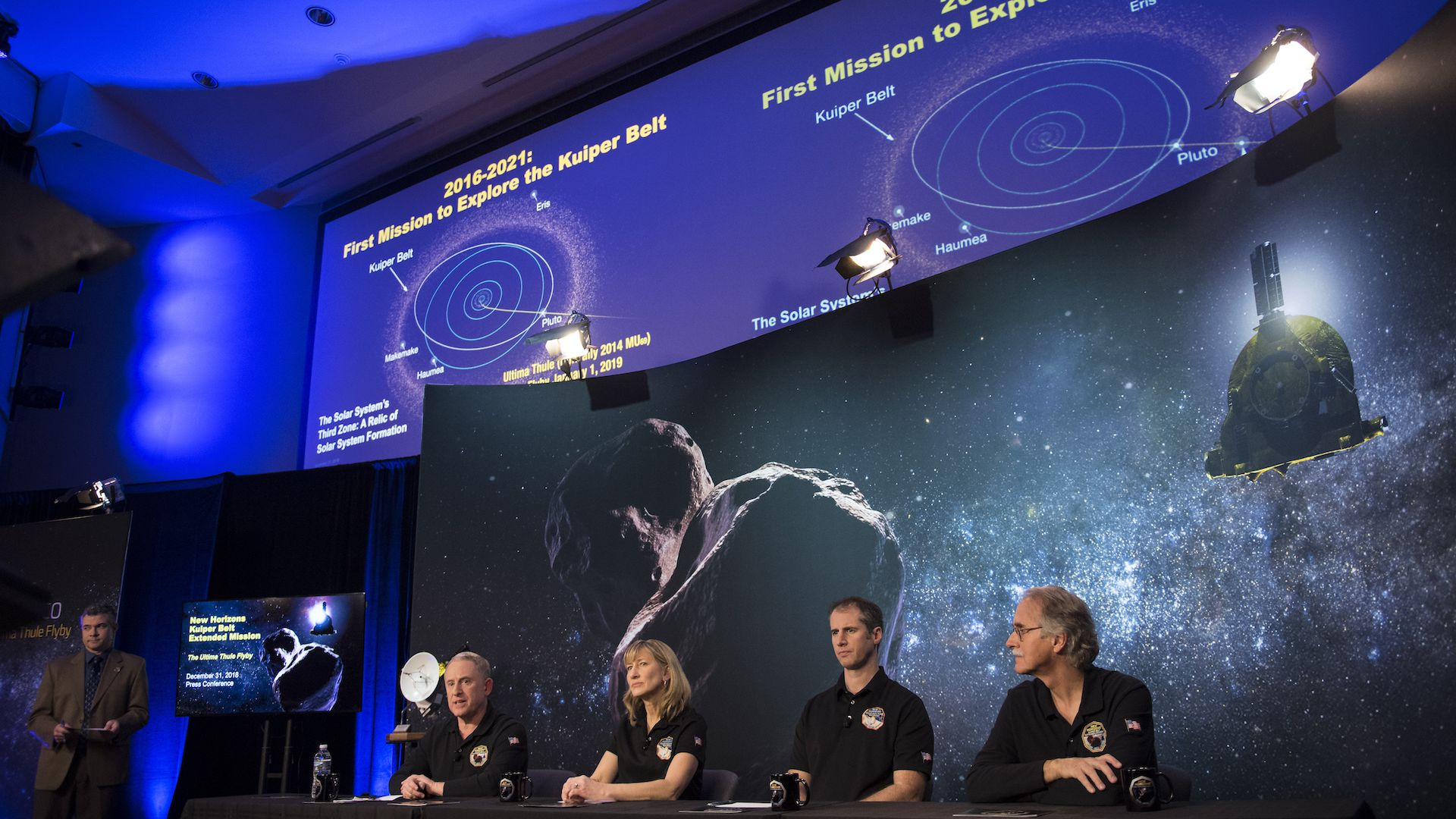 NASA New Horizons scientists brief the media on the Ultima Thule flyby on Dec. 31, 2018.