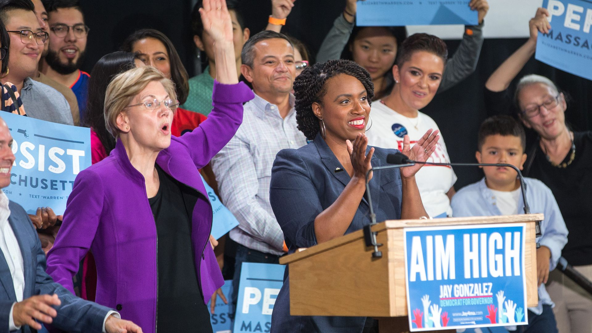 Elizabeth Warren and Ayanna Pressley at a rally.