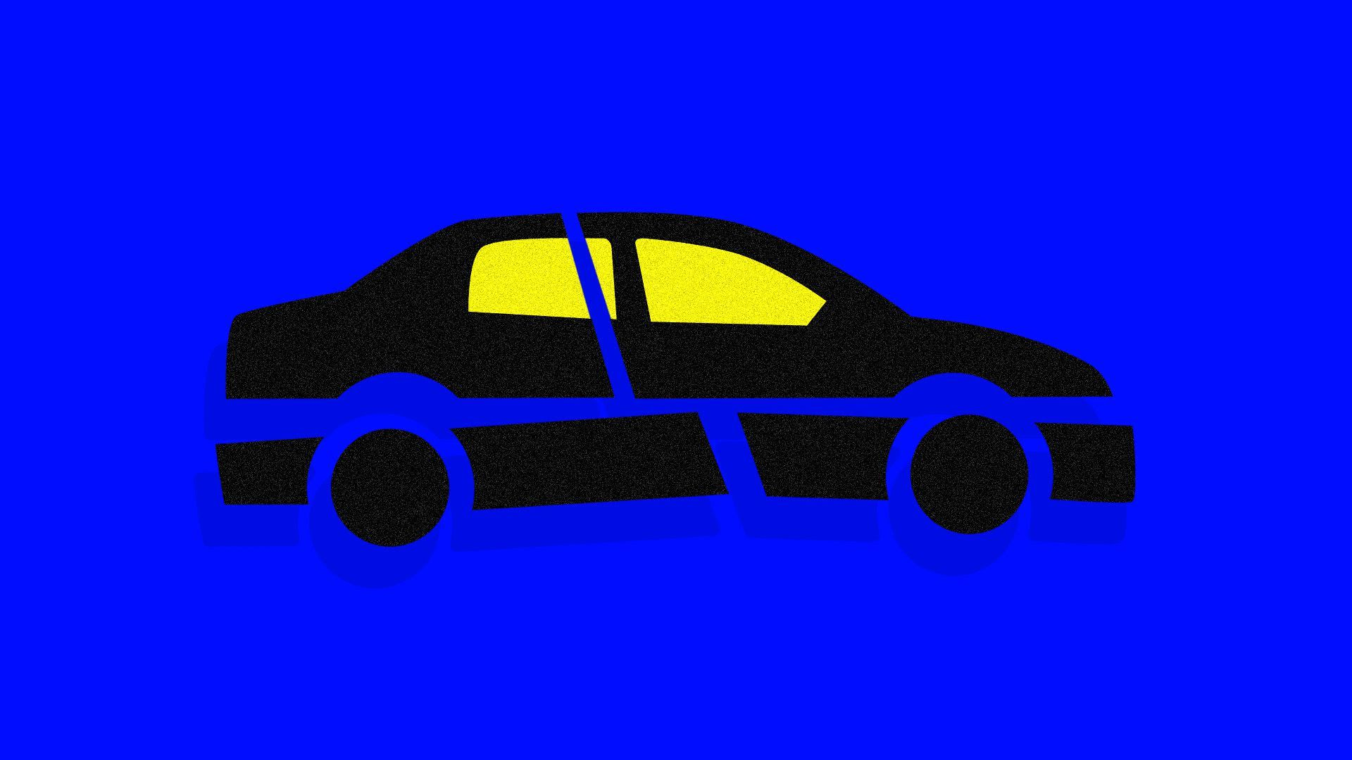 illustration of a car broken up