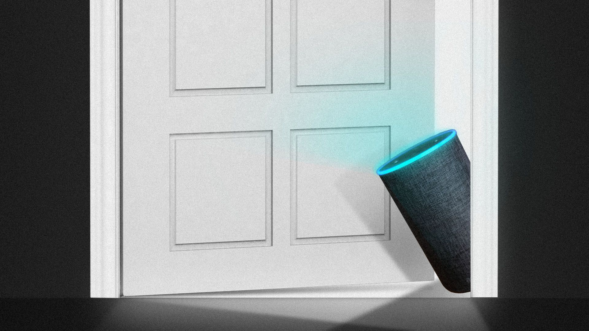 Illustration of an Amazon Echo smart speaker peaking out from behind a door