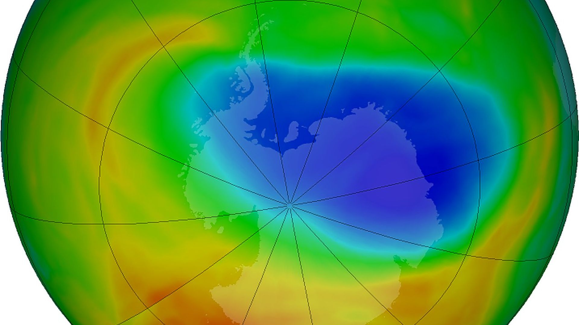 A NASA image of the hole in the ozone layer over Antarctica.