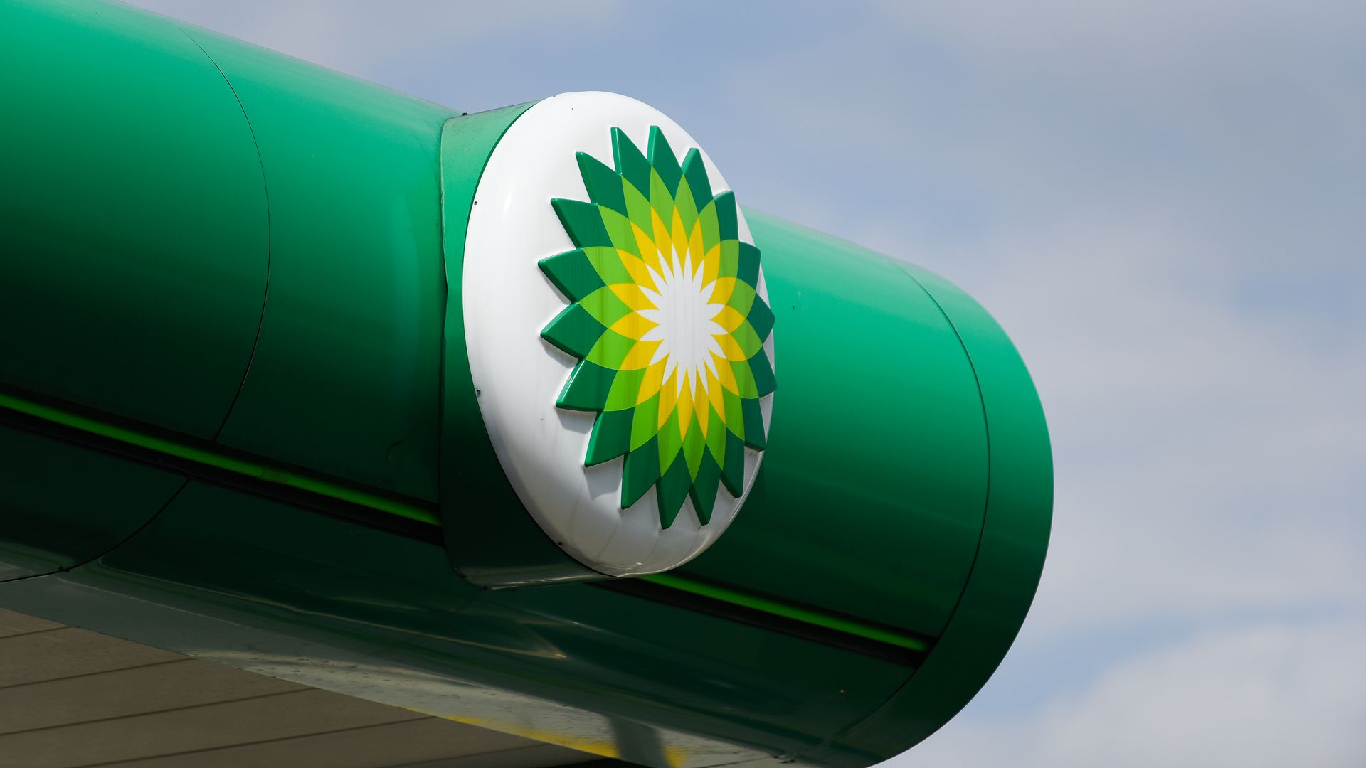 BP's company logo show at a gas station in Poland