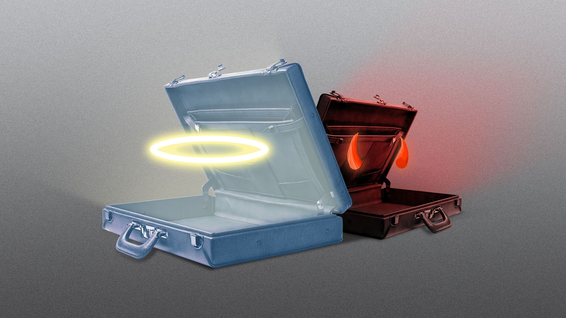 Illustration of an open briefcase with a halo inside, with a smaller one behind featuring devil horns