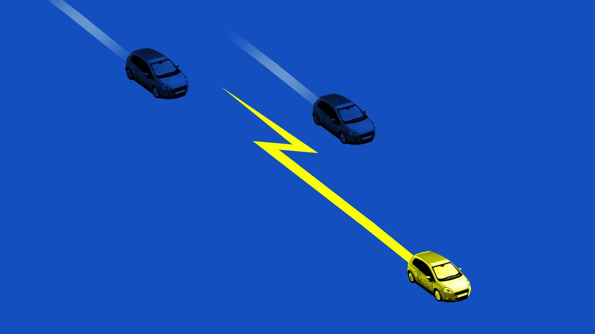 An illustration of an electronic vehicle flying past other cars.