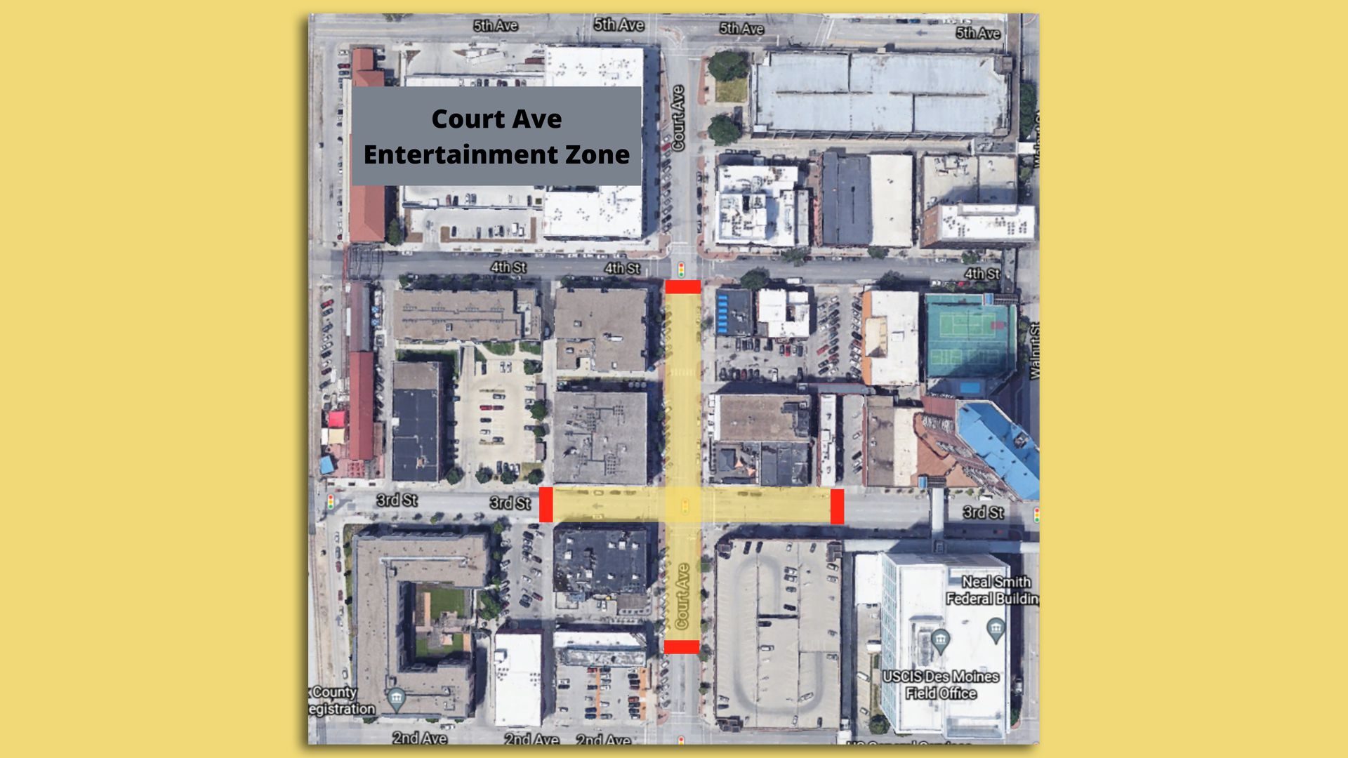 An aerial map of the areas of Court Avenue that will be closed to traffic