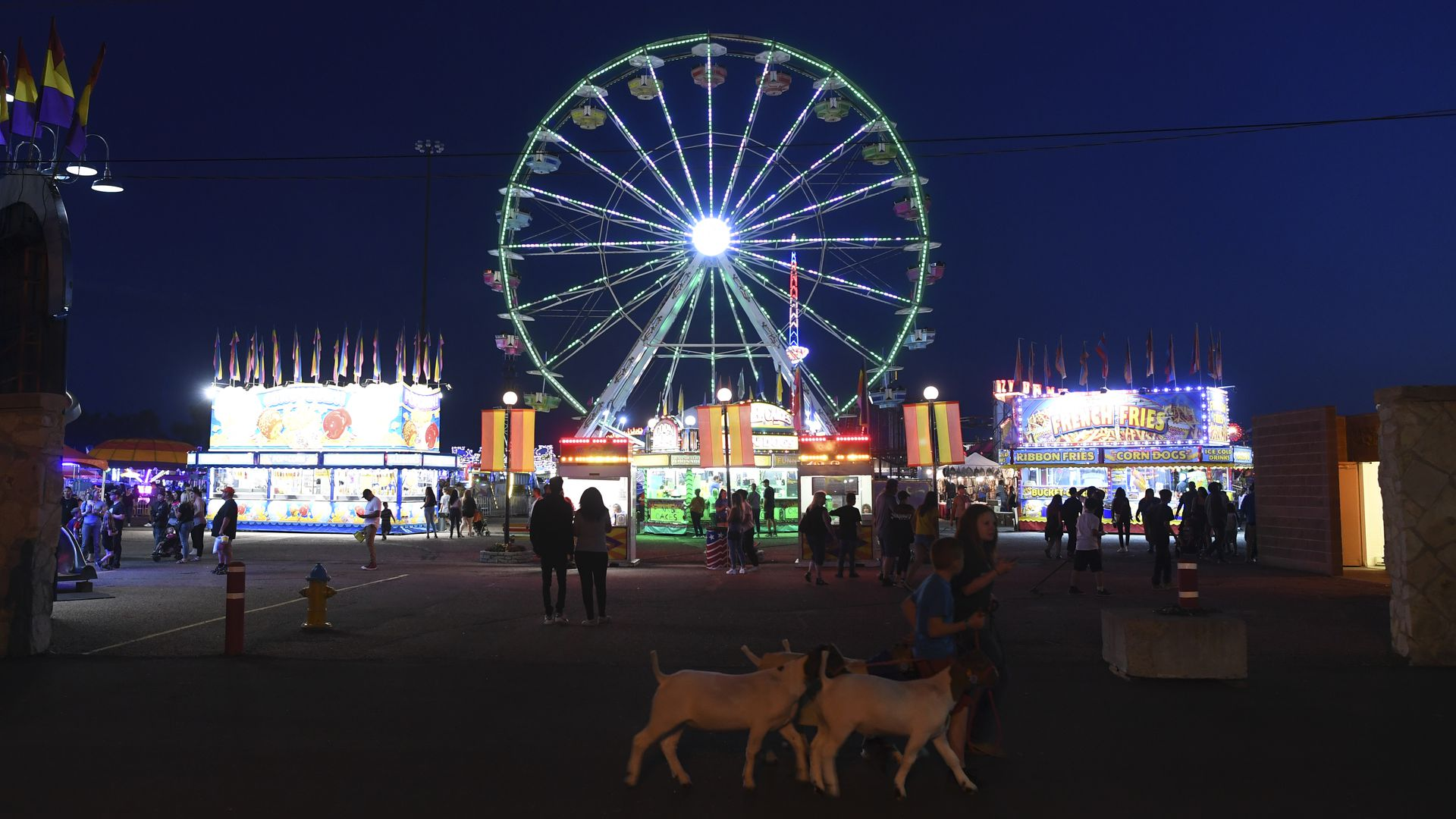 Carnival rides light up the sky at the Colorado State Fair in 2019.