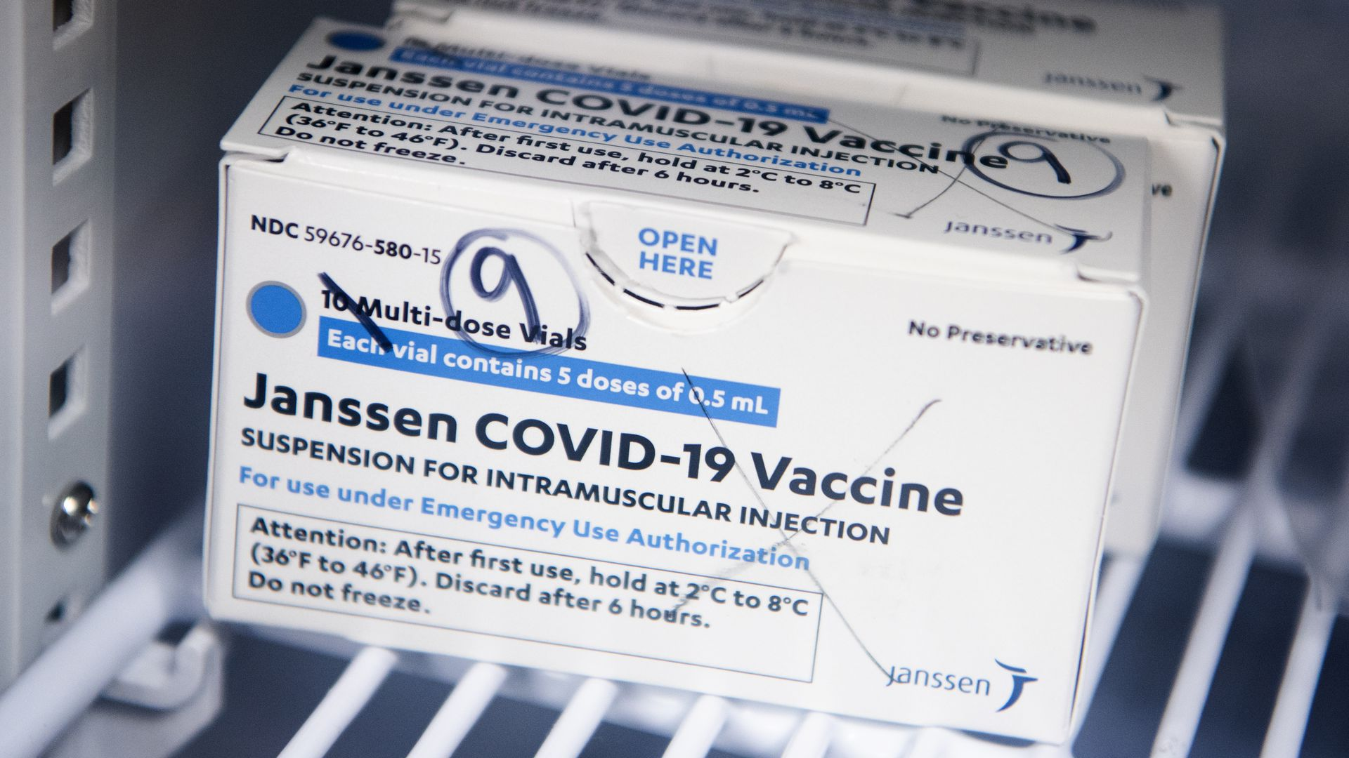 A box with the J&J Covid vaccine inside