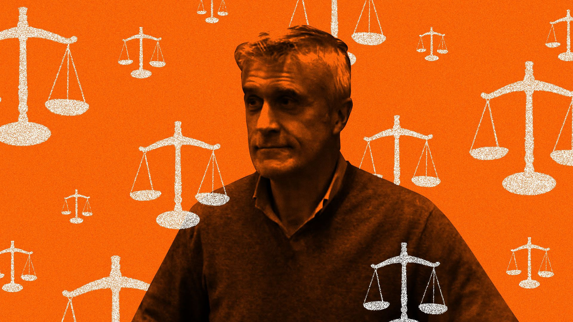 In this image, Mike Calvey stands in front of a red-orange background decorated with various scales of justice.