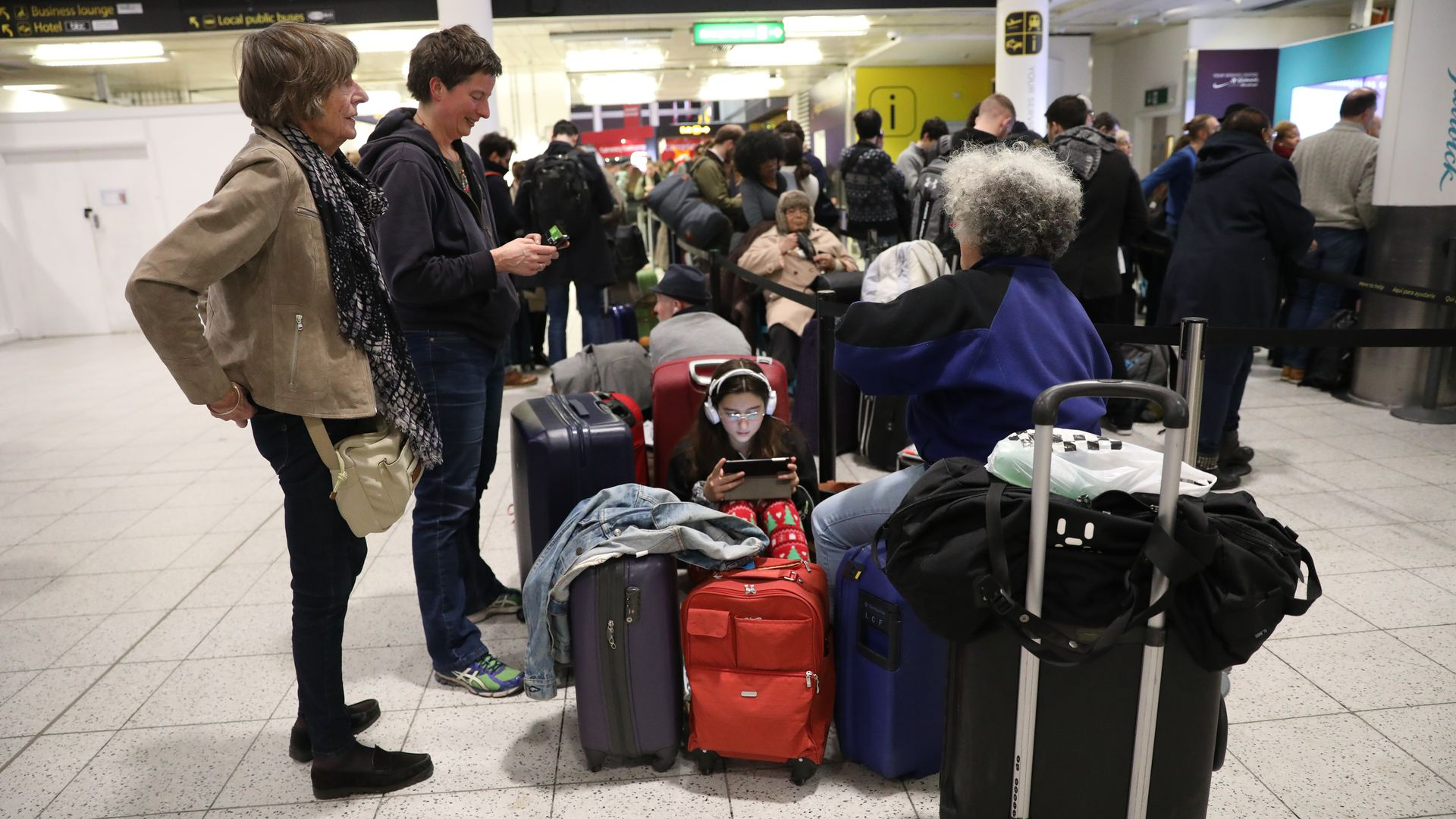People stranded at gatwick airport.