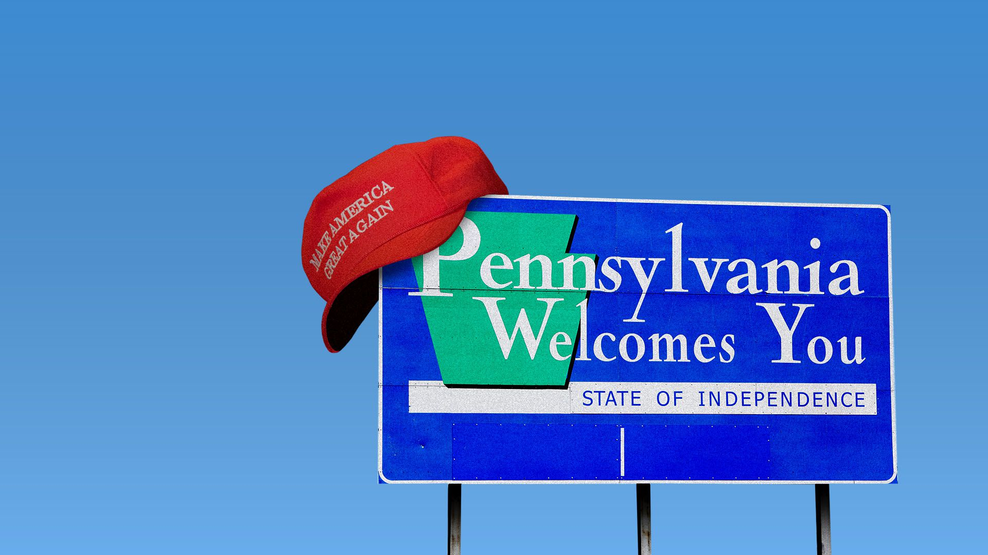 "Illustration of a ""Pennsylvania welcomes you"" road sign wearing a MAGA hat"
