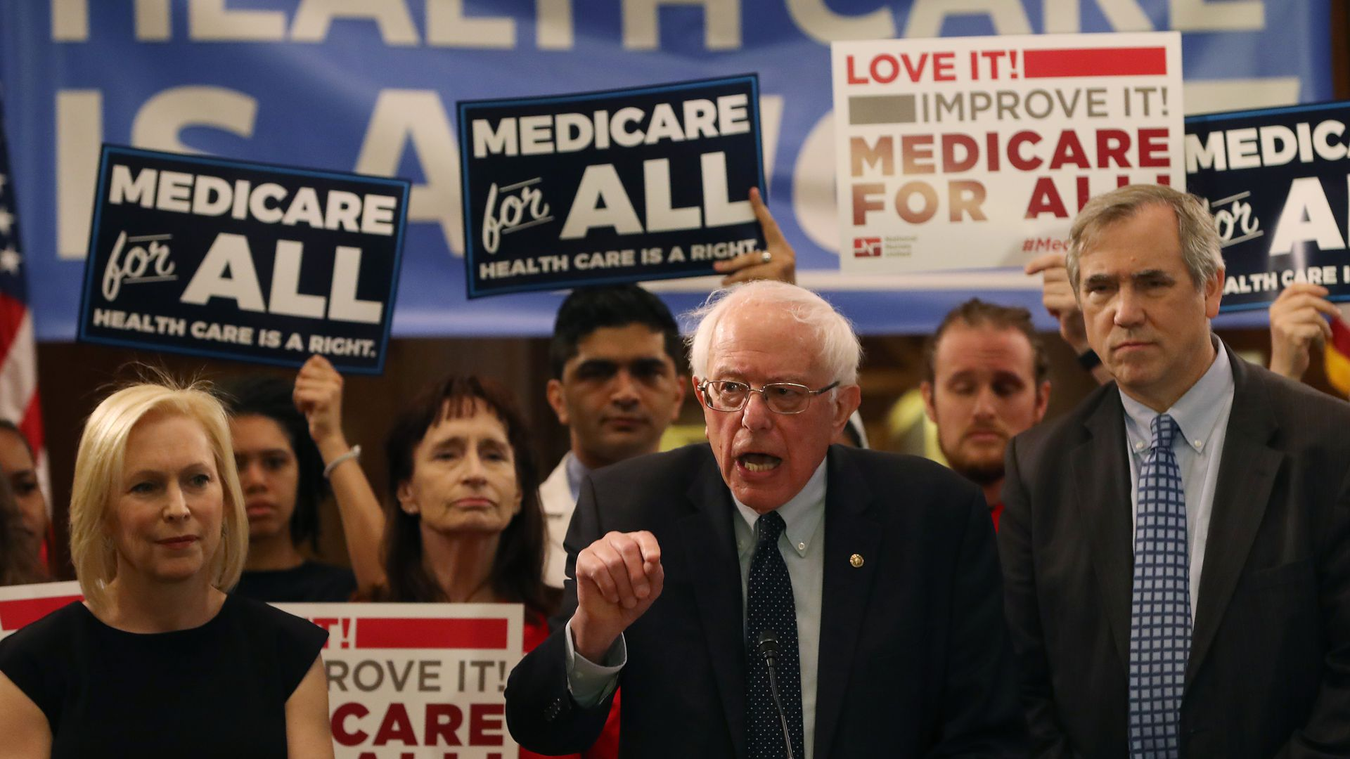 Sen. Bernie Sanders speaks on his Medicare for All bill