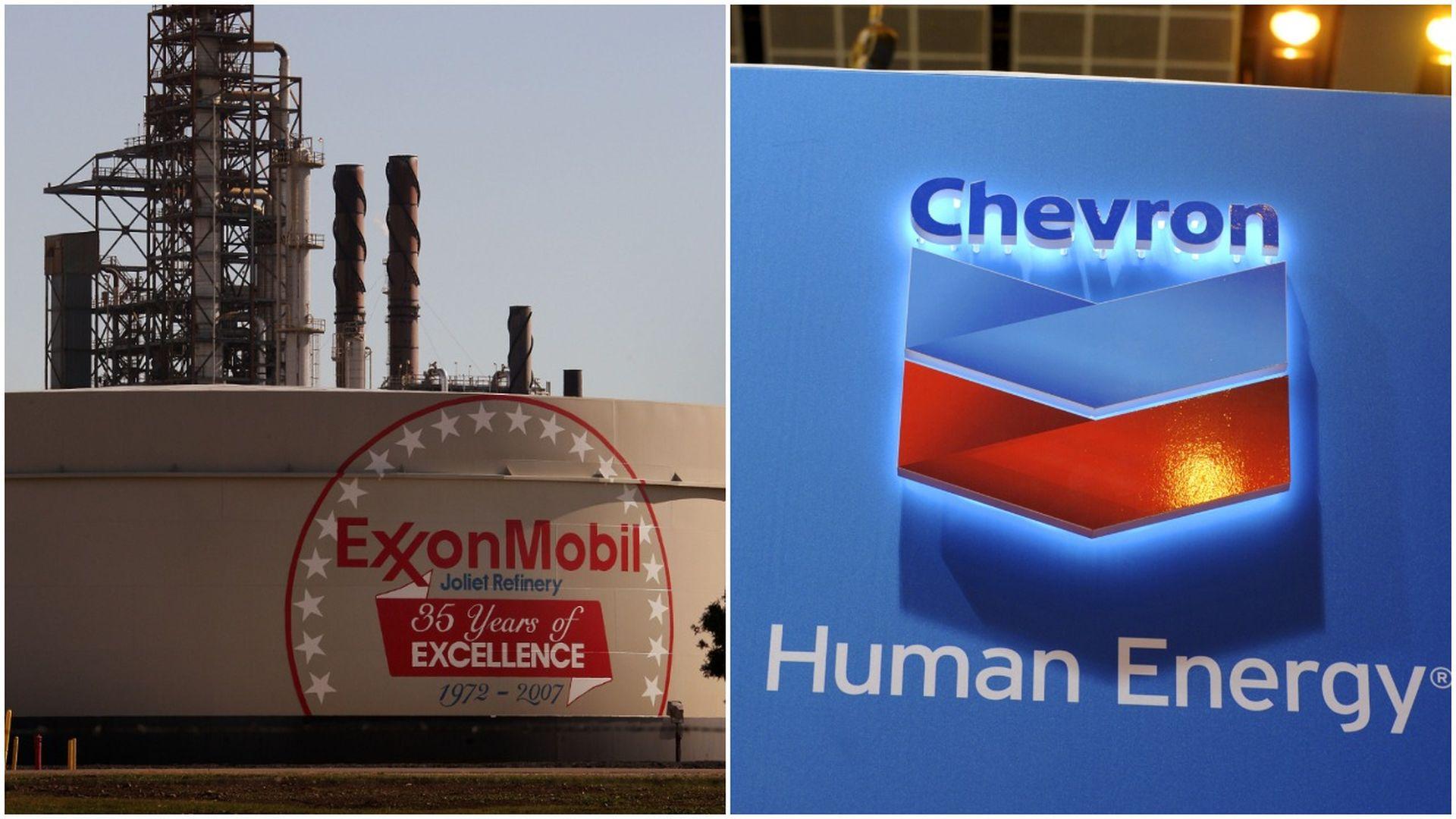 Pic stitch of exxon mobil plant and chevron logo
