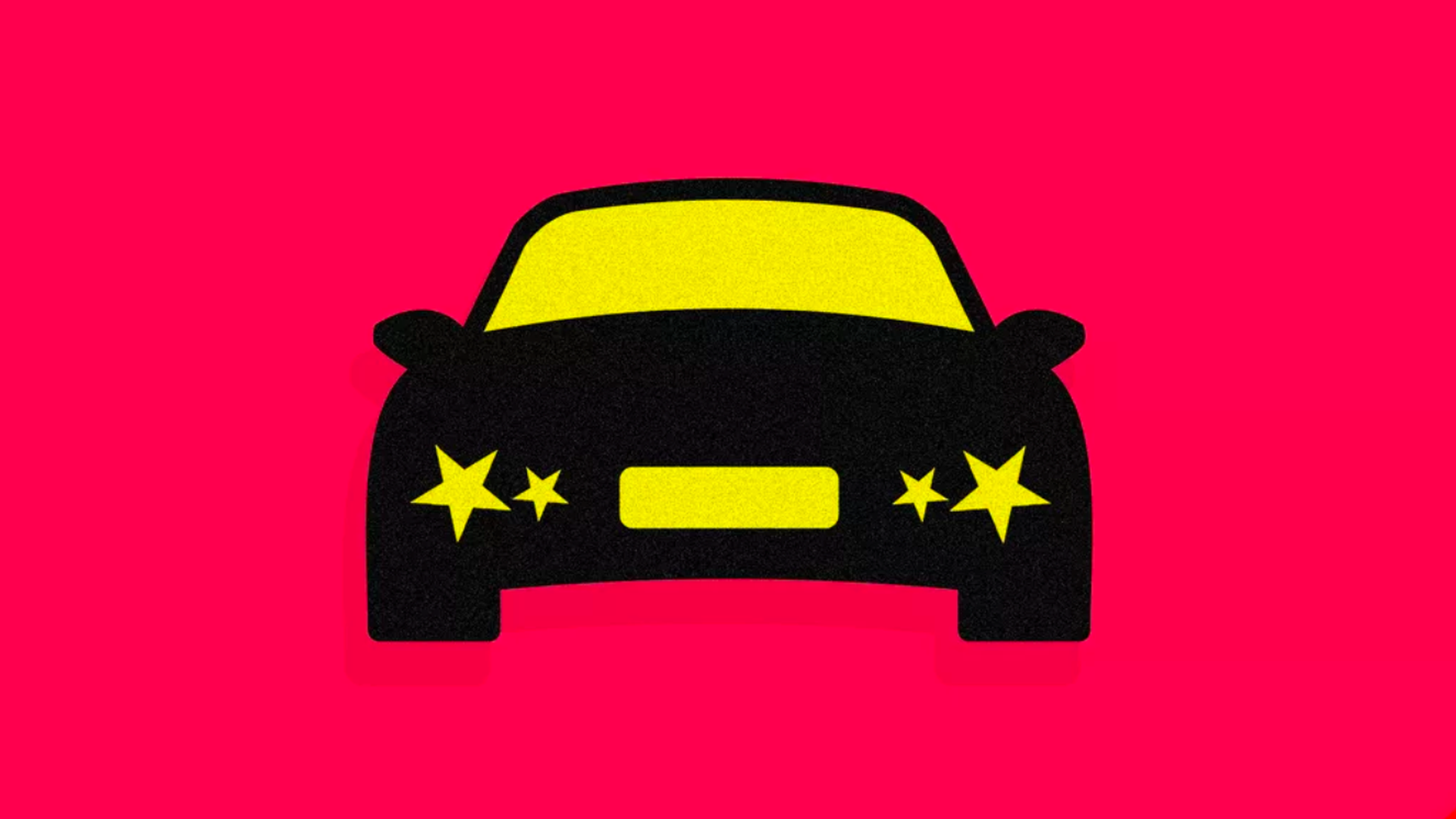This illustration shows a car with headlines in the shape of stars.