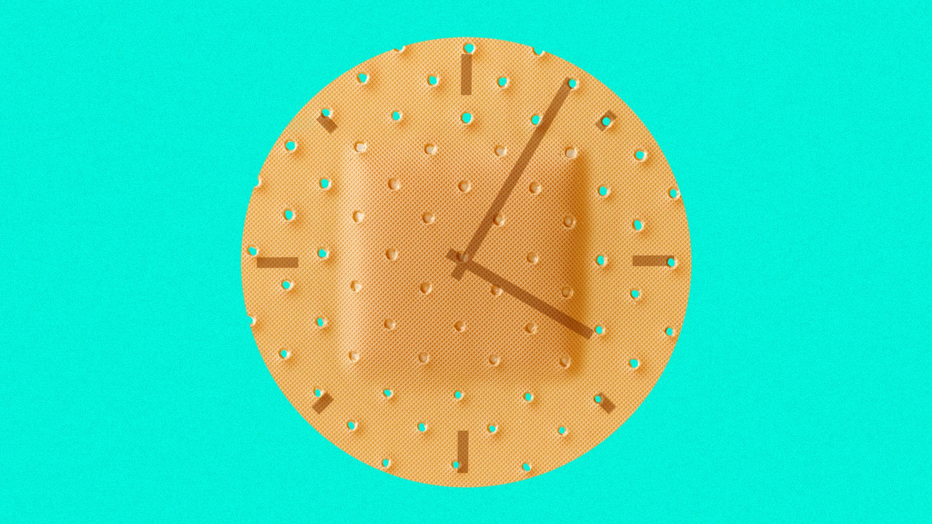 Illustration of a circular bandage with a clock face on it.