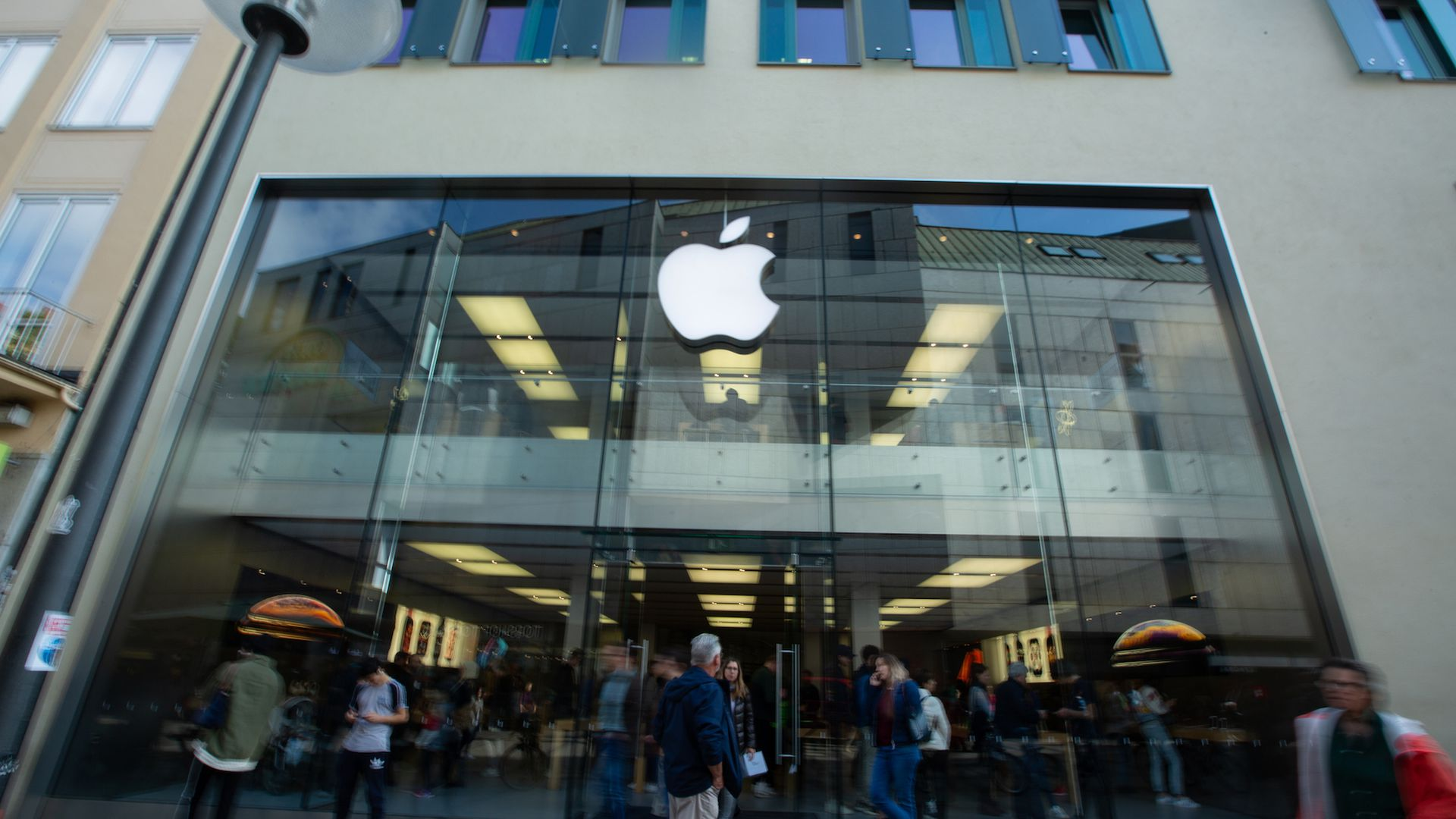 Photo of Apple Store front with logo.