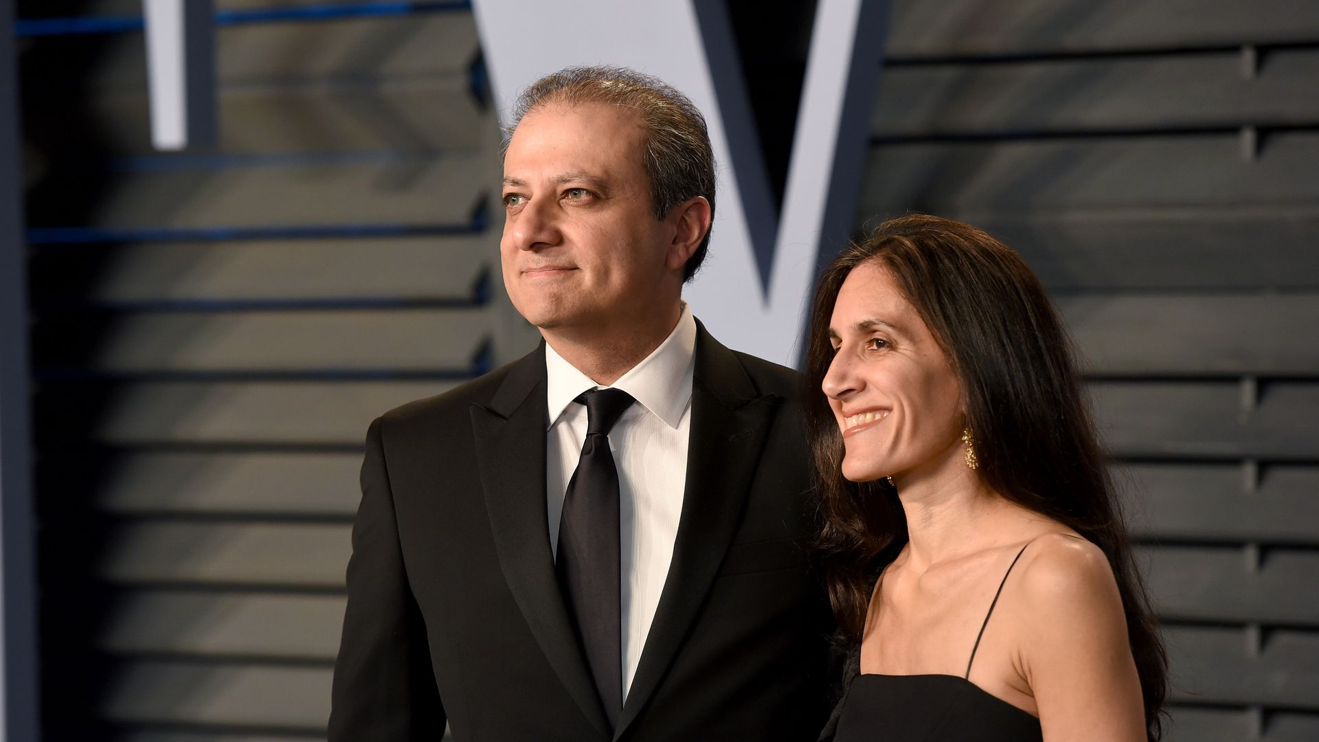 Preet Bharara and his wife Dalya in formal dress