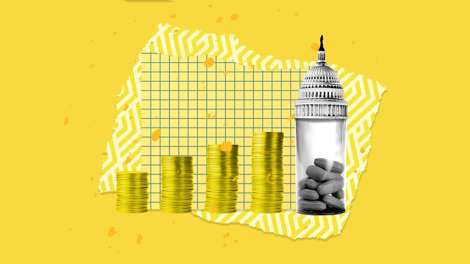 Coins, pills, and the Capitol building on a montage.