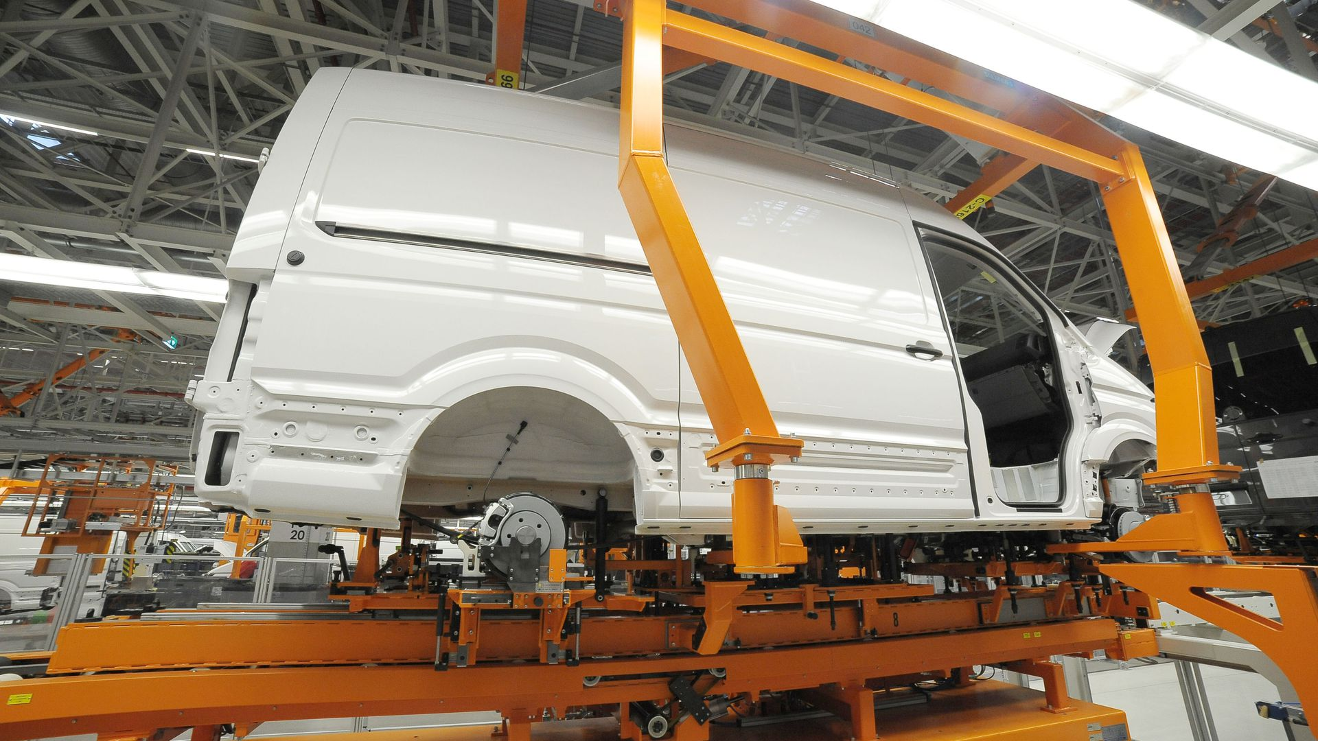 A Volkswagen van being made at a factory in Poland.