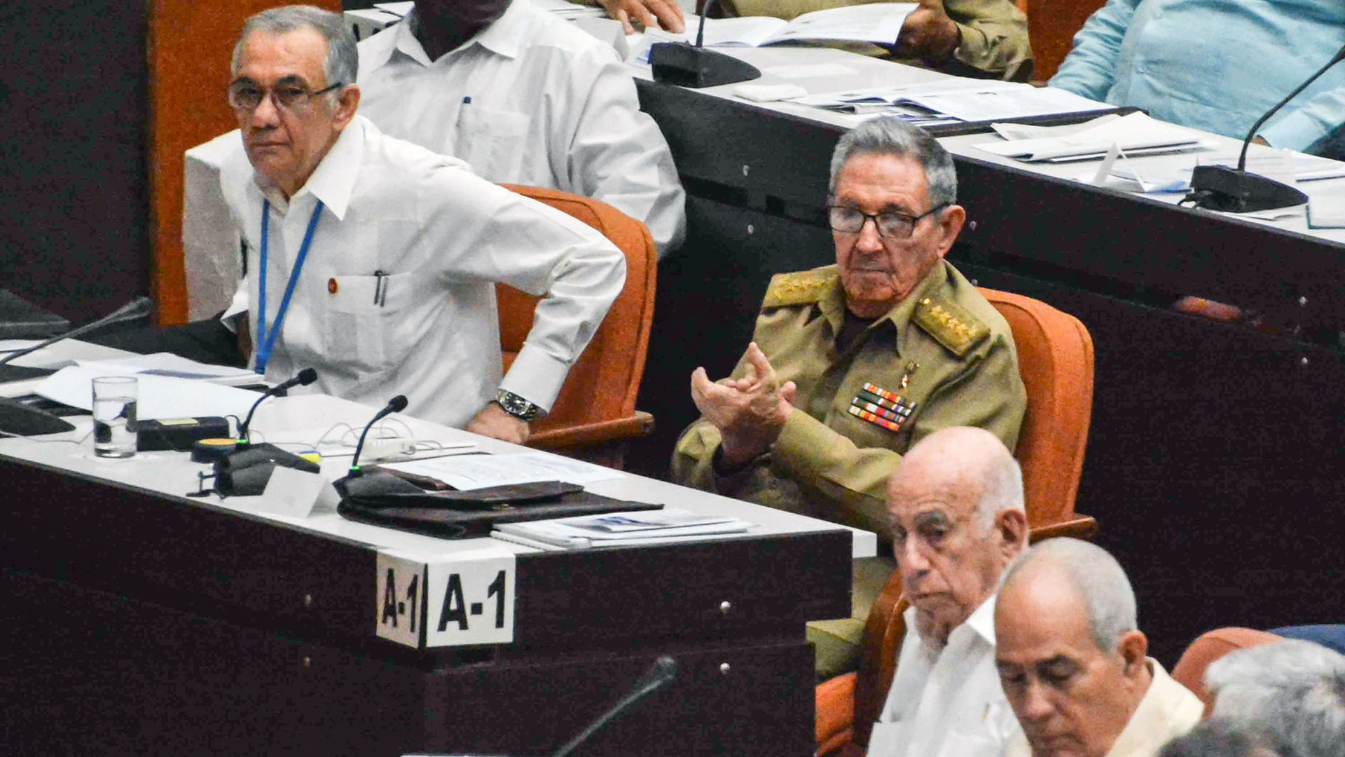 Former Cuban President Raul Castro at a National Assembly's session to present discussing new constitutional reforms. Photo: Jorge Beltran/AFP/Getty Images