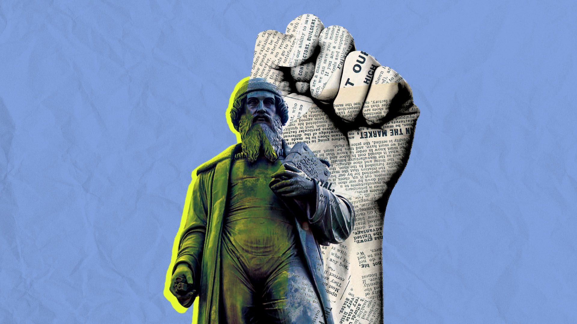 Illustration of Johannes Gutenberg statue with a raised fist behind him