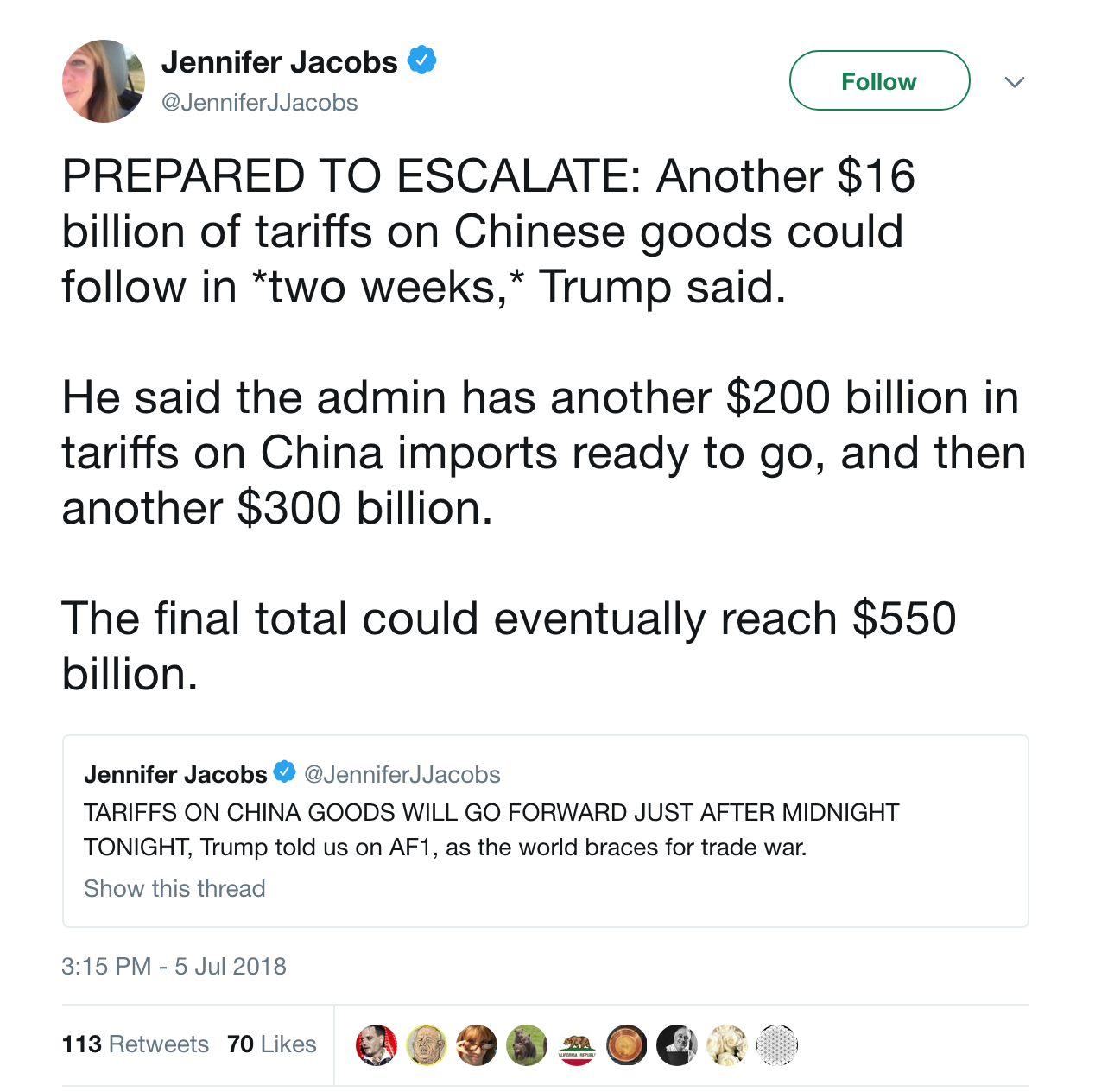 Screenshot of Bloomberg reporter text on what President Trump said on the plane on tariffs