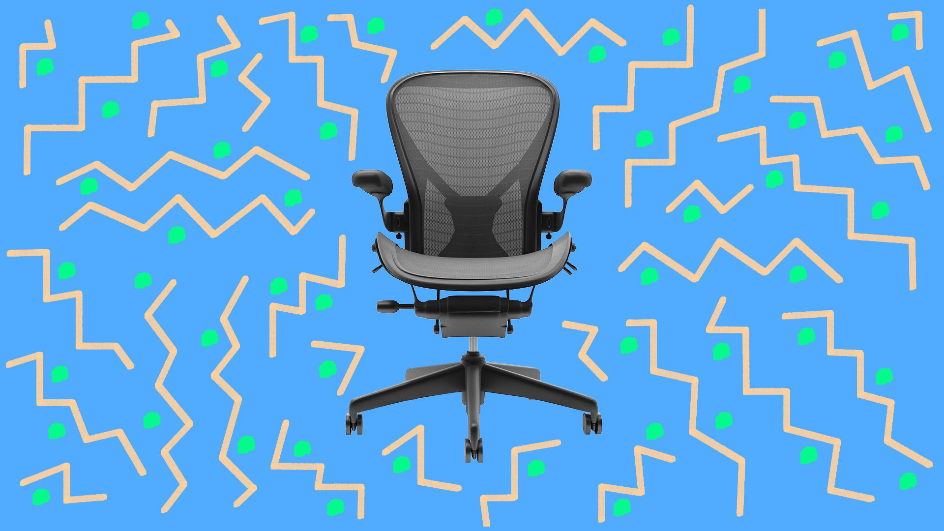 Illustration of office chair surrounded by 90s style pattern
