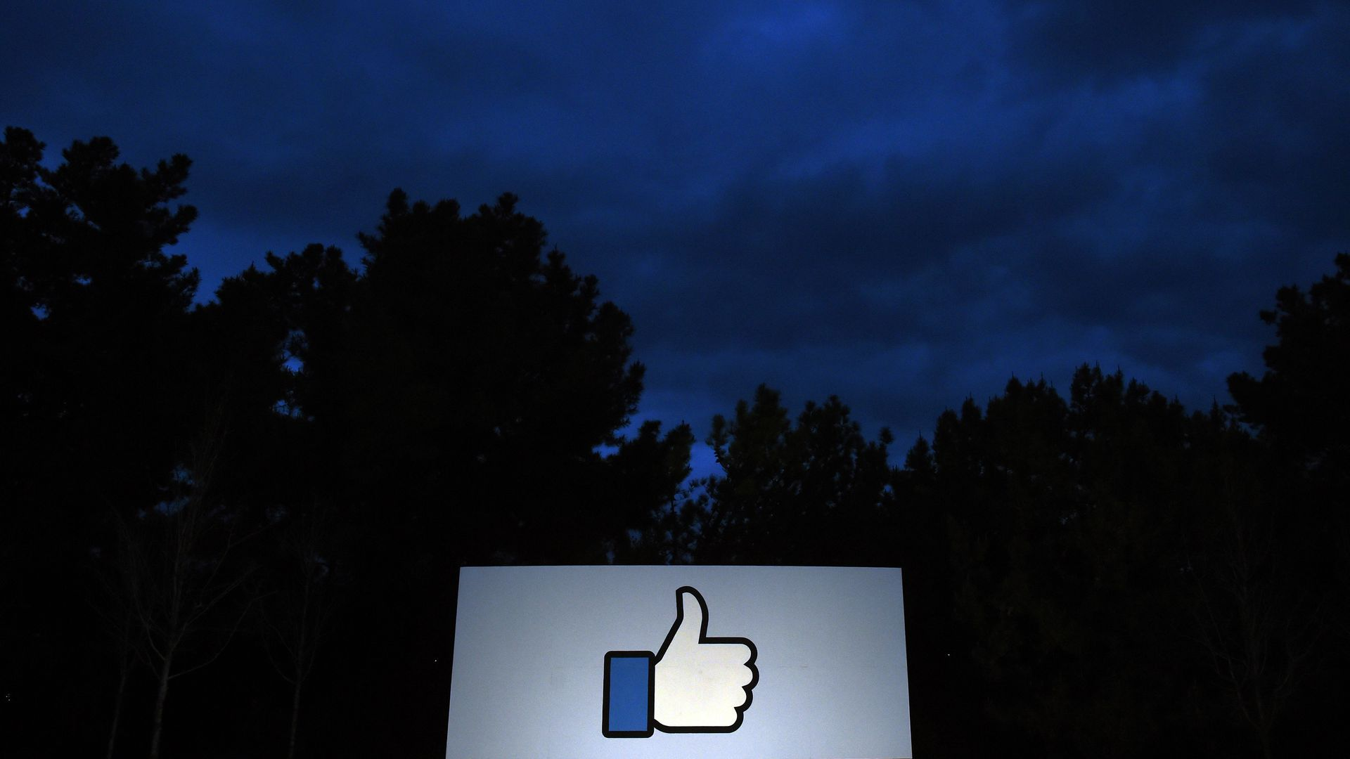 "The Facebook ""like"" symbol on the sign outside their corporate headquarters"