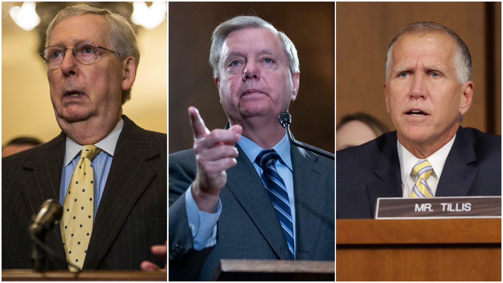Senators Mitch McConnell, Lindsey Graham and Thom Tillis