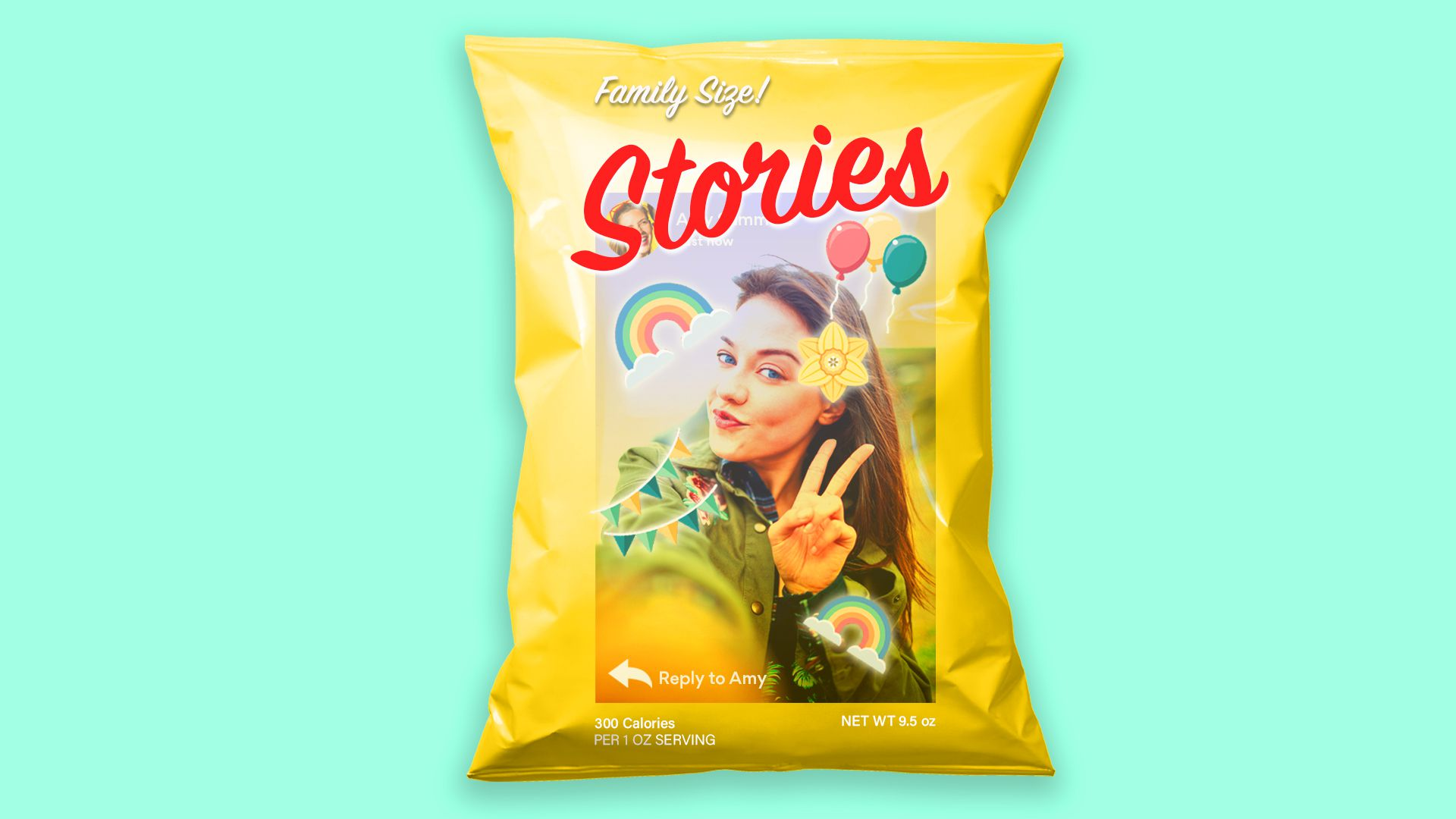 Facebook Stories, pictured as a bag of potato chips
