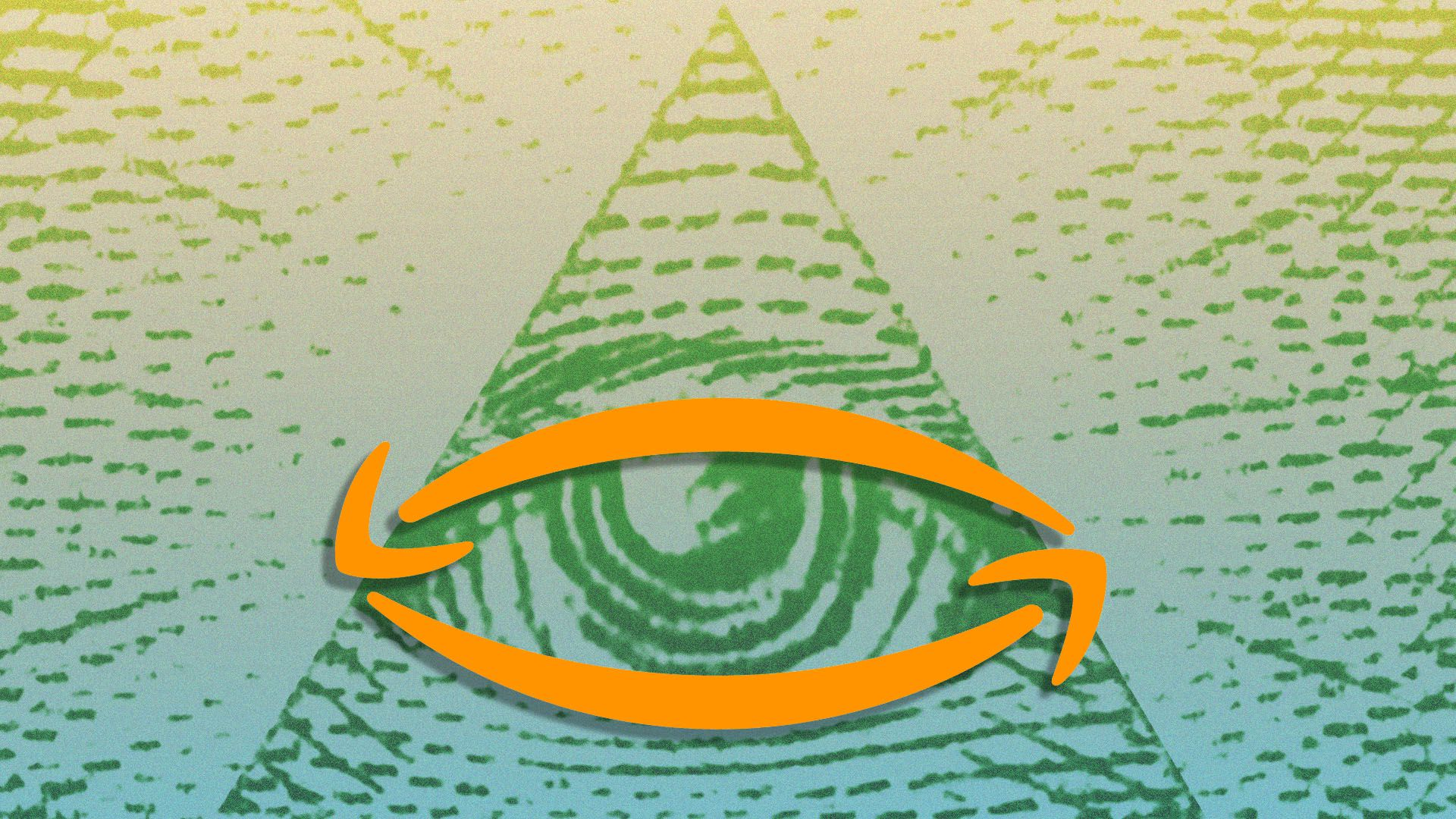 Illustration of the Amazon logo over the Eye of Providence